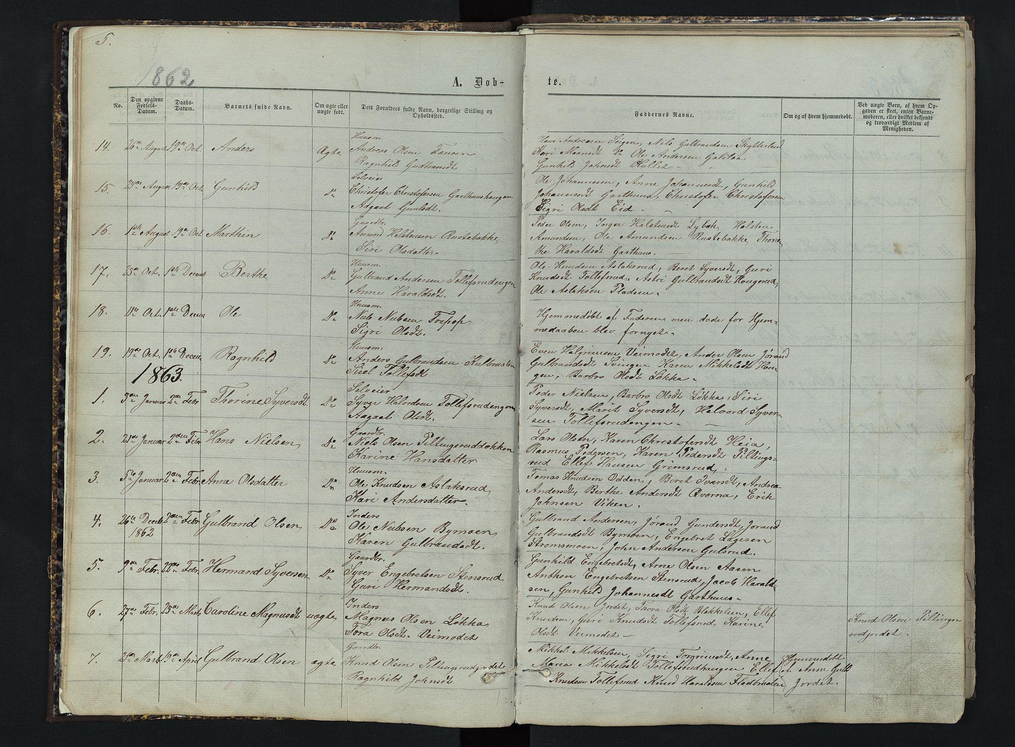 SAH, Sør-Aurdal prestekontor, Klokkerbok nr. 3, 1862-1893, s. 5