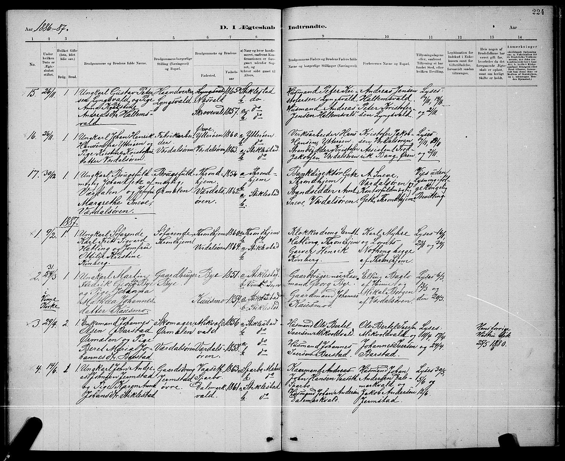 SAT, Ministerialprotokoller, klokkerbøker og fødselsregistre - Nord-Trøndelag, 723/L0256: Klokkerbok nr. 723C04, 1879-1890, s. 224