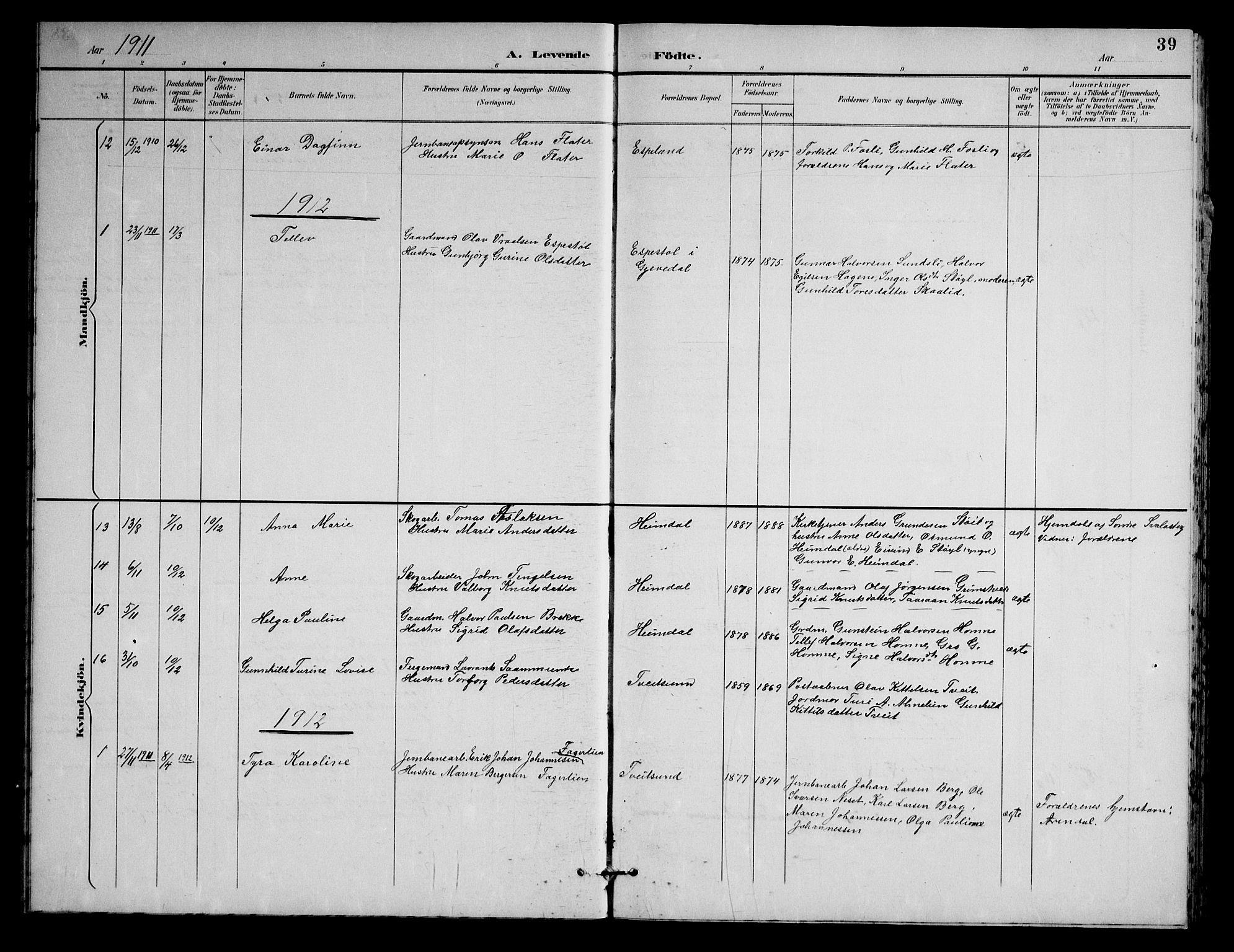 SAKO, Nissedal kirkebøker, G/Gb/L0003: Klokkerbok nr. II 3, 1893-1928, s. 39