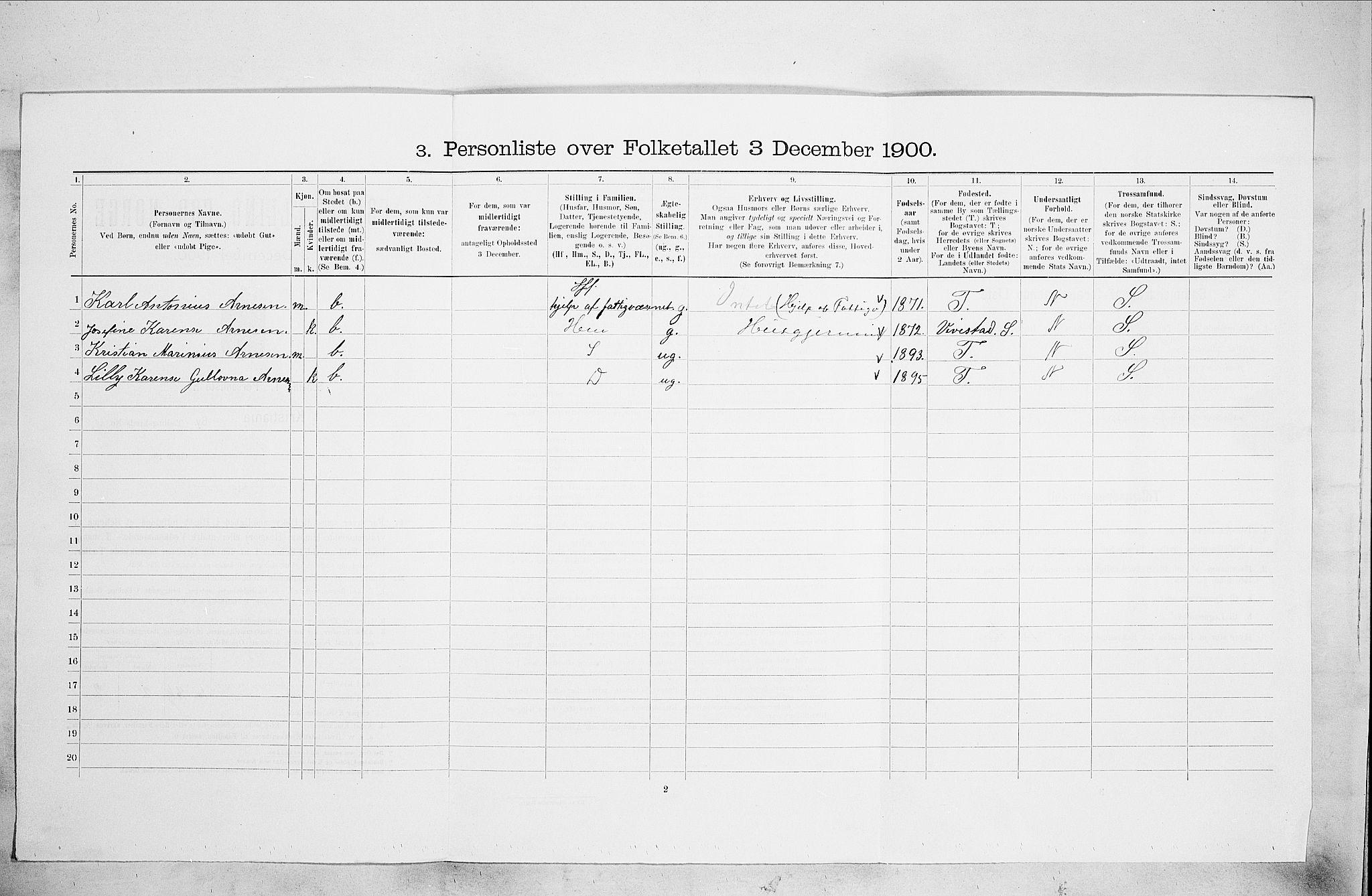 SAO, Folketelling 1900 for 0301 Kristiania kjøpstad, 1900, s. 37847