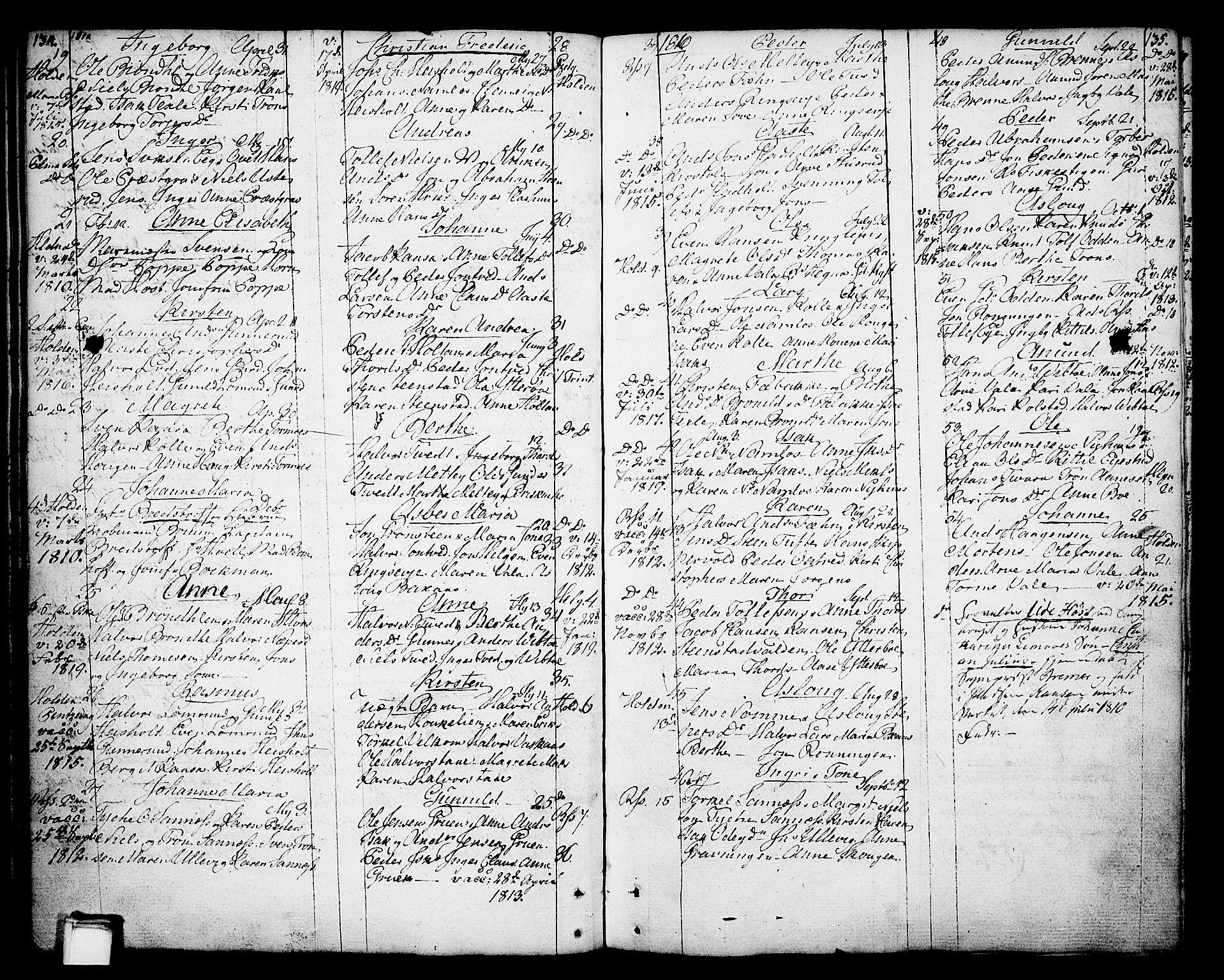 SAKO, Holla kirkebøker, F/Fa/L0002: Ministerialbok nr. 2, 1779-1814, s. 134-135