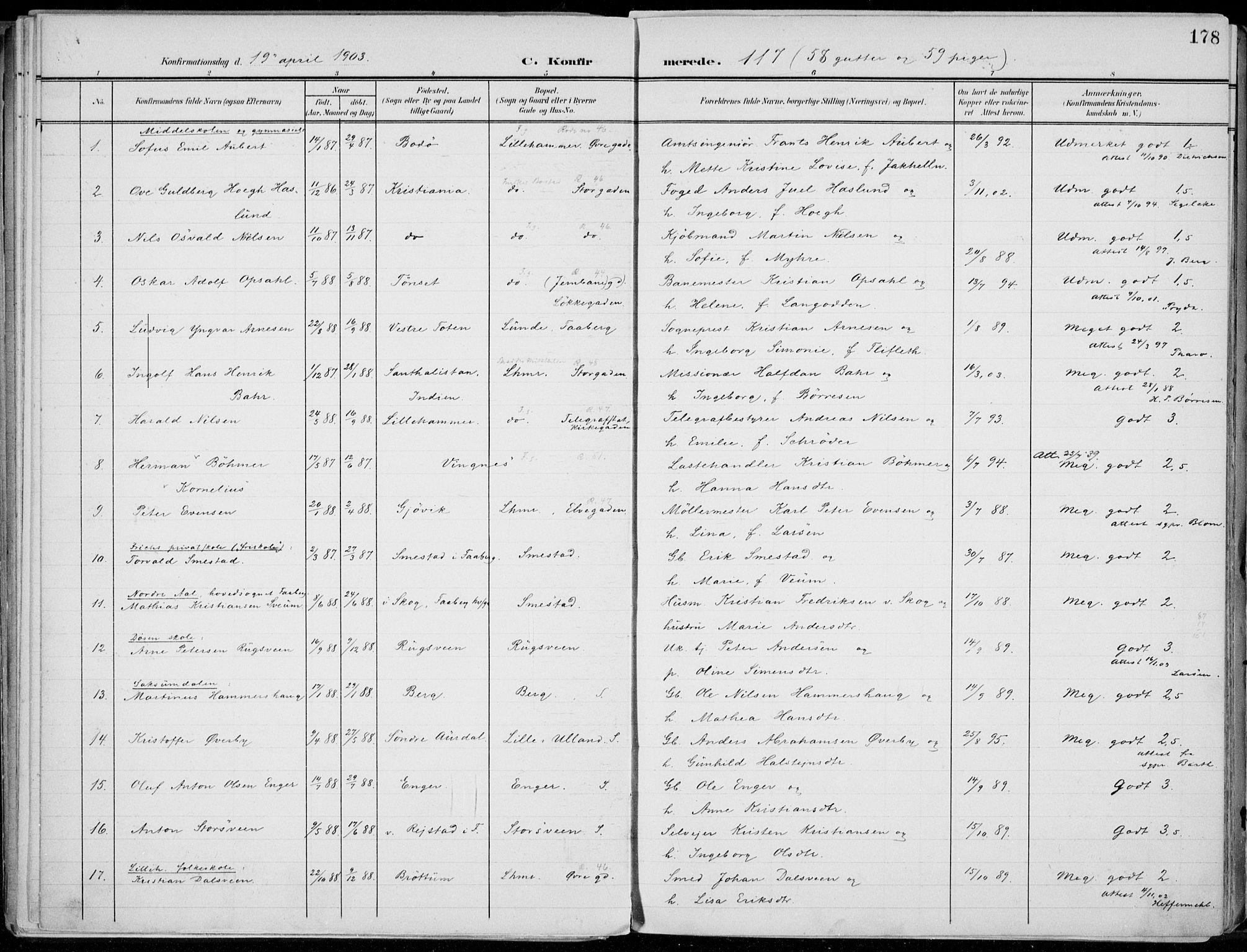 SAH, Lillehammer prestekontor, Ministerialbok nr. 1, 1901-1916, s. 178