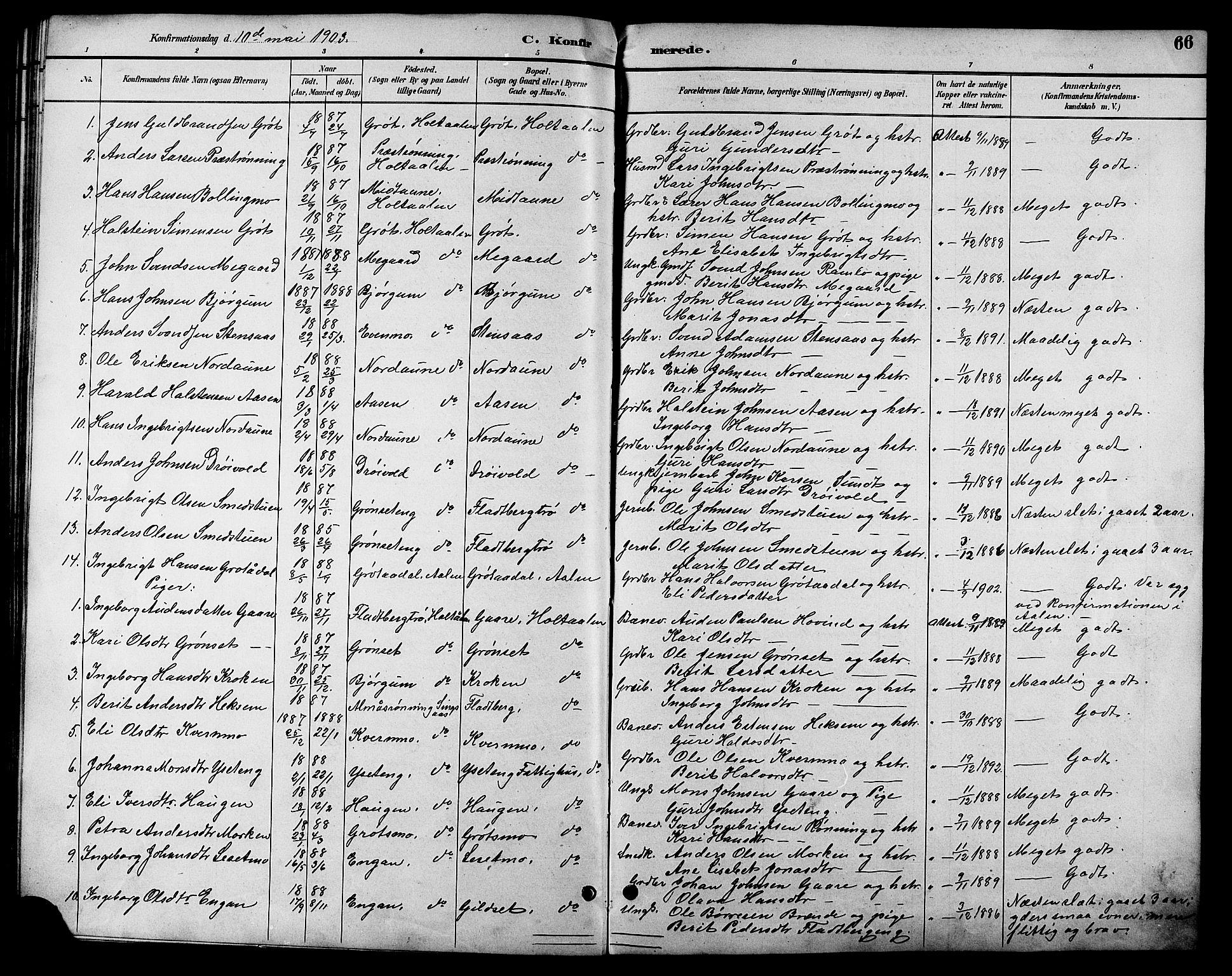 SAT, Ministerialprotokoller, klokkerbøker og fødselsregistre - Sør-Trøndelag, 685/L0978: Klokkerbok nr. 685C03, 1891-1907, s. 66