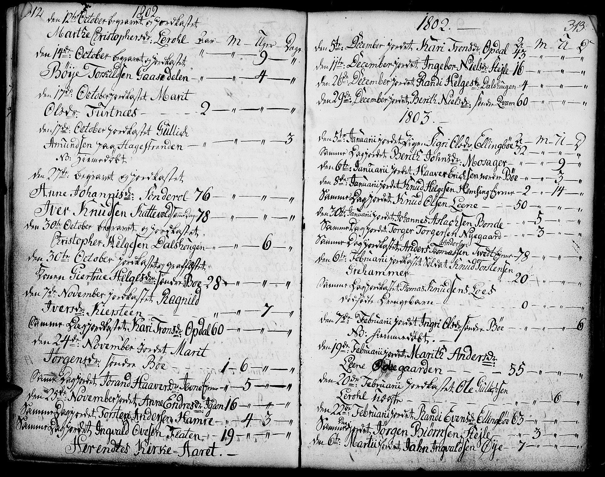 SAH, Vang prestekontor, Valdres, Ministerialbok nr. 2, 1796-1808, s. 312-313
