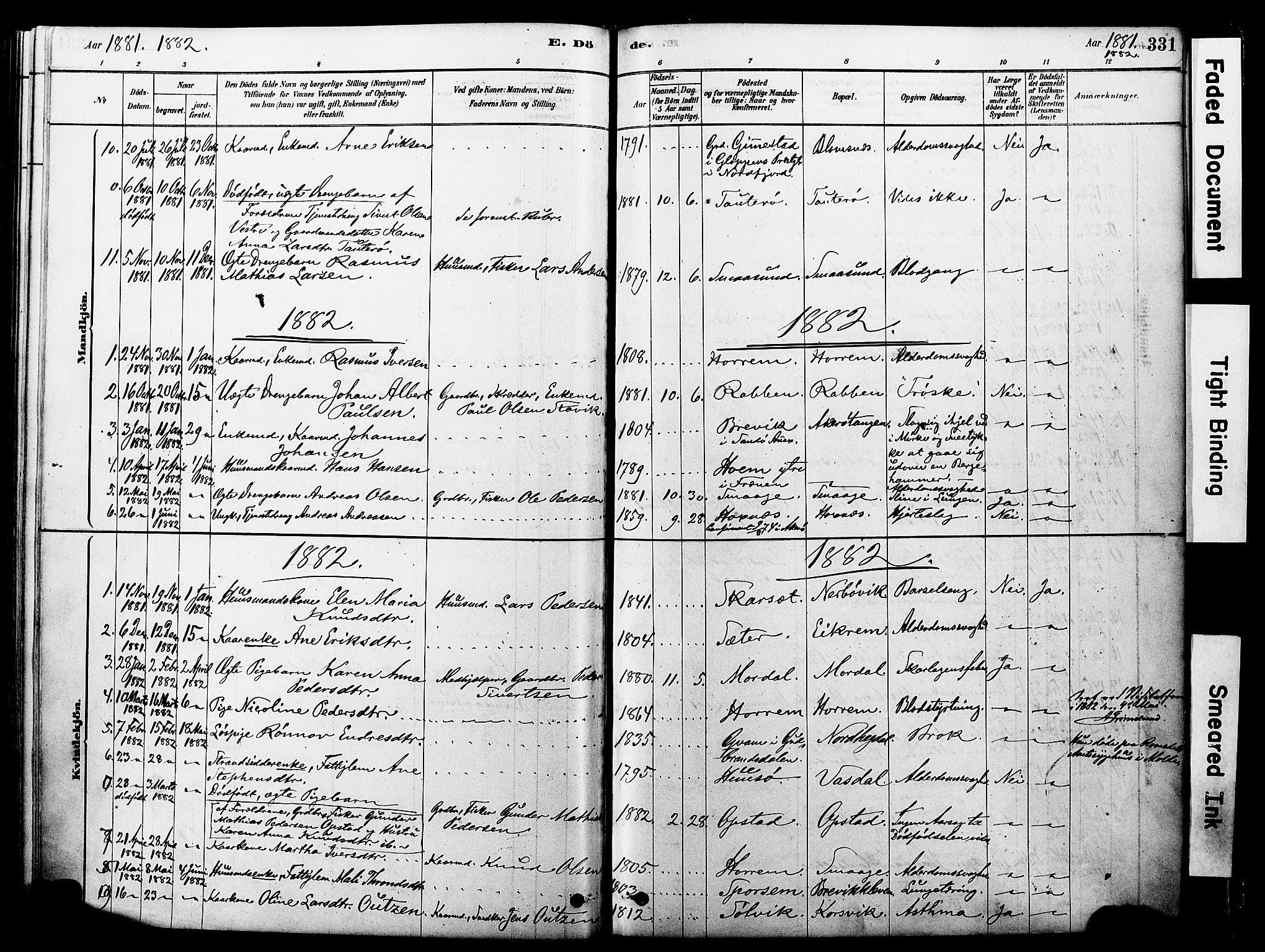 SAT, Ministerialprotokoller, klokkerbøker og fødselsregistre - Møre og Romsdal, 560/L0721: Ministerialbok nr. 560A05, 1878-1917, s. 331