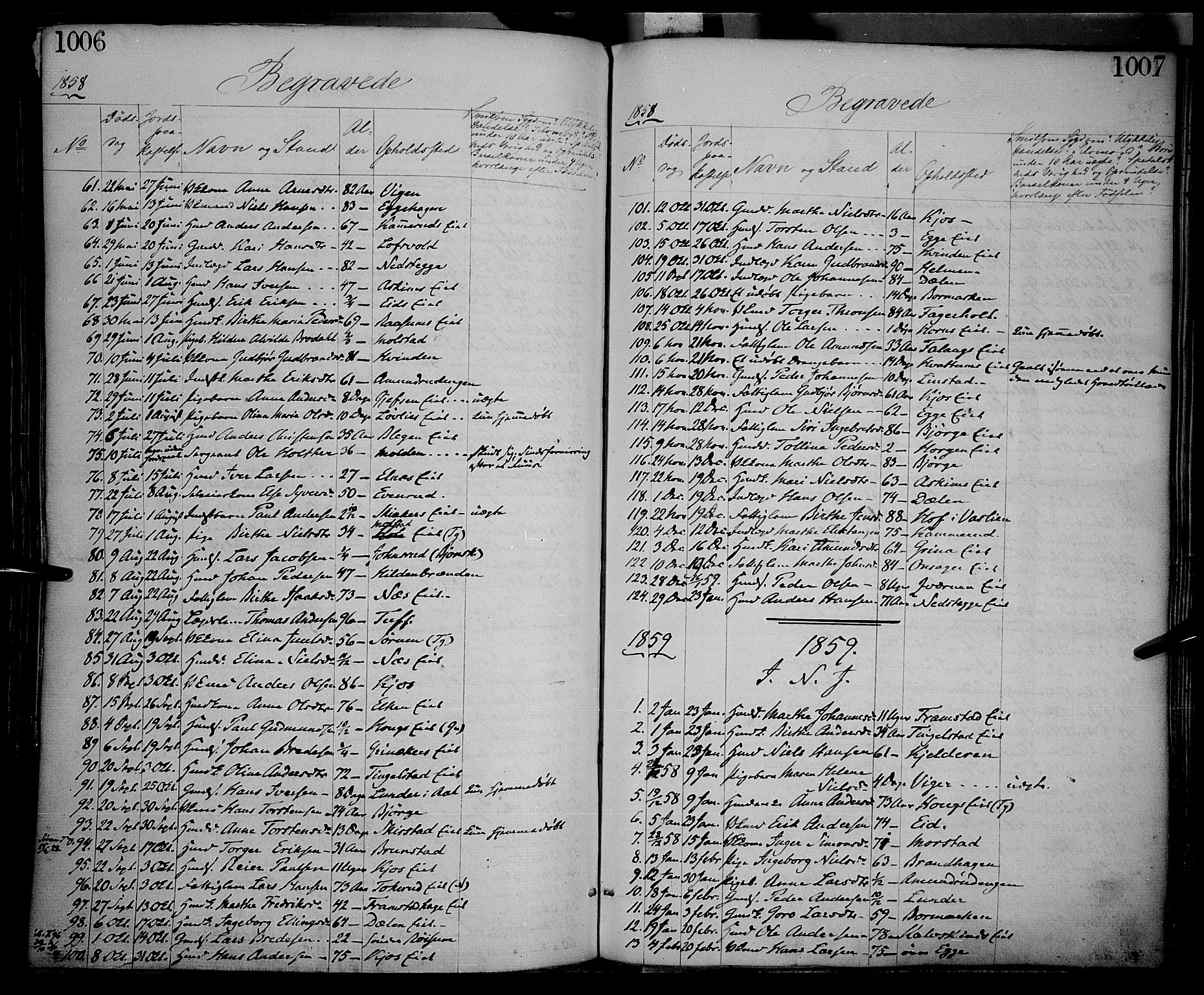 SAH, Gran prestekontor, Ministerialbok nr. 12, 1856-1874, s. 1006-1007