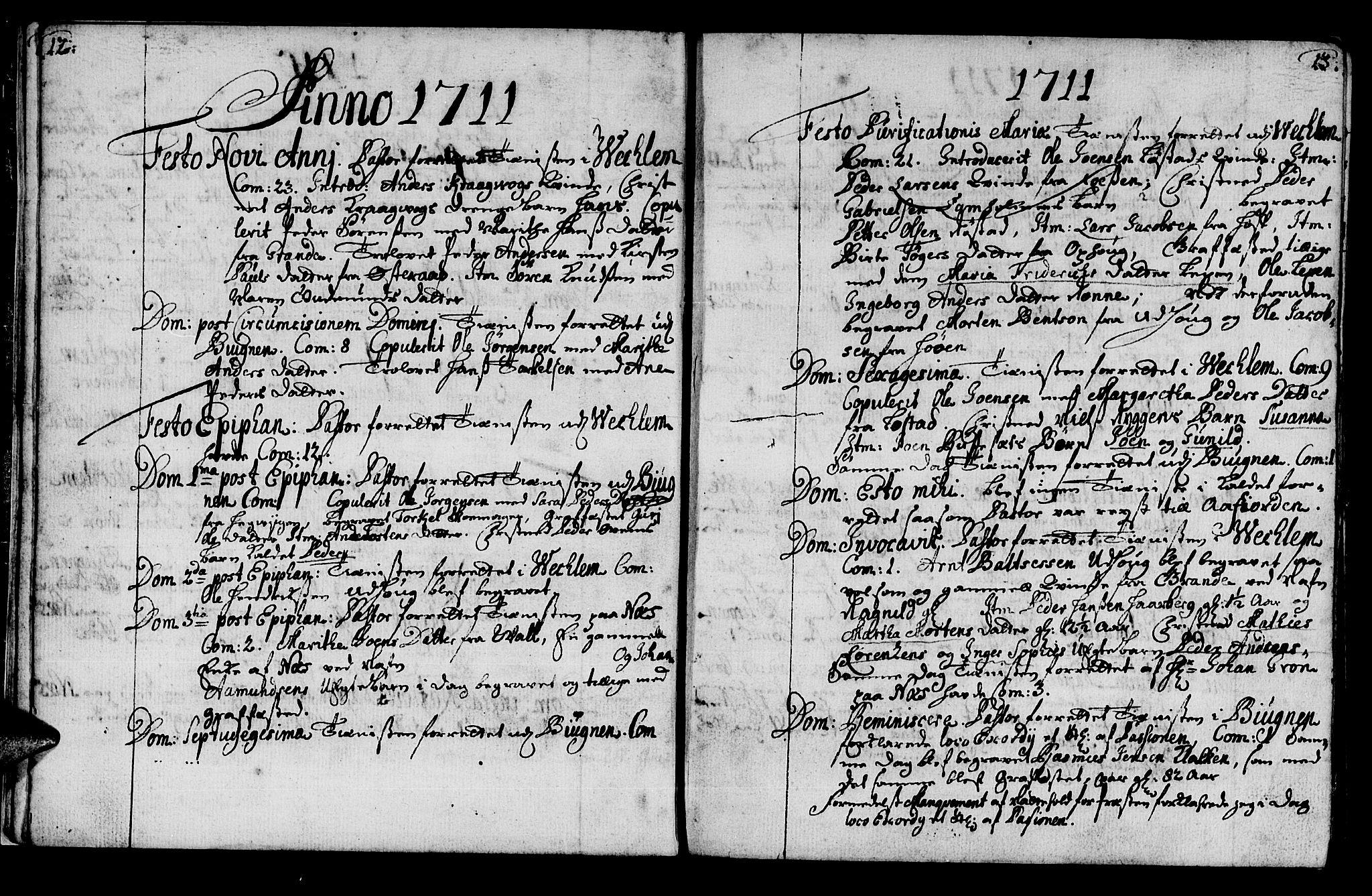 SAT, Ministerialprotokoller, klokkerbøker og fødselsregistre - Sør-Trøndelag, 659/L0731: Ministerialbok nr. 659A01, 1709-1731, s. 12-13