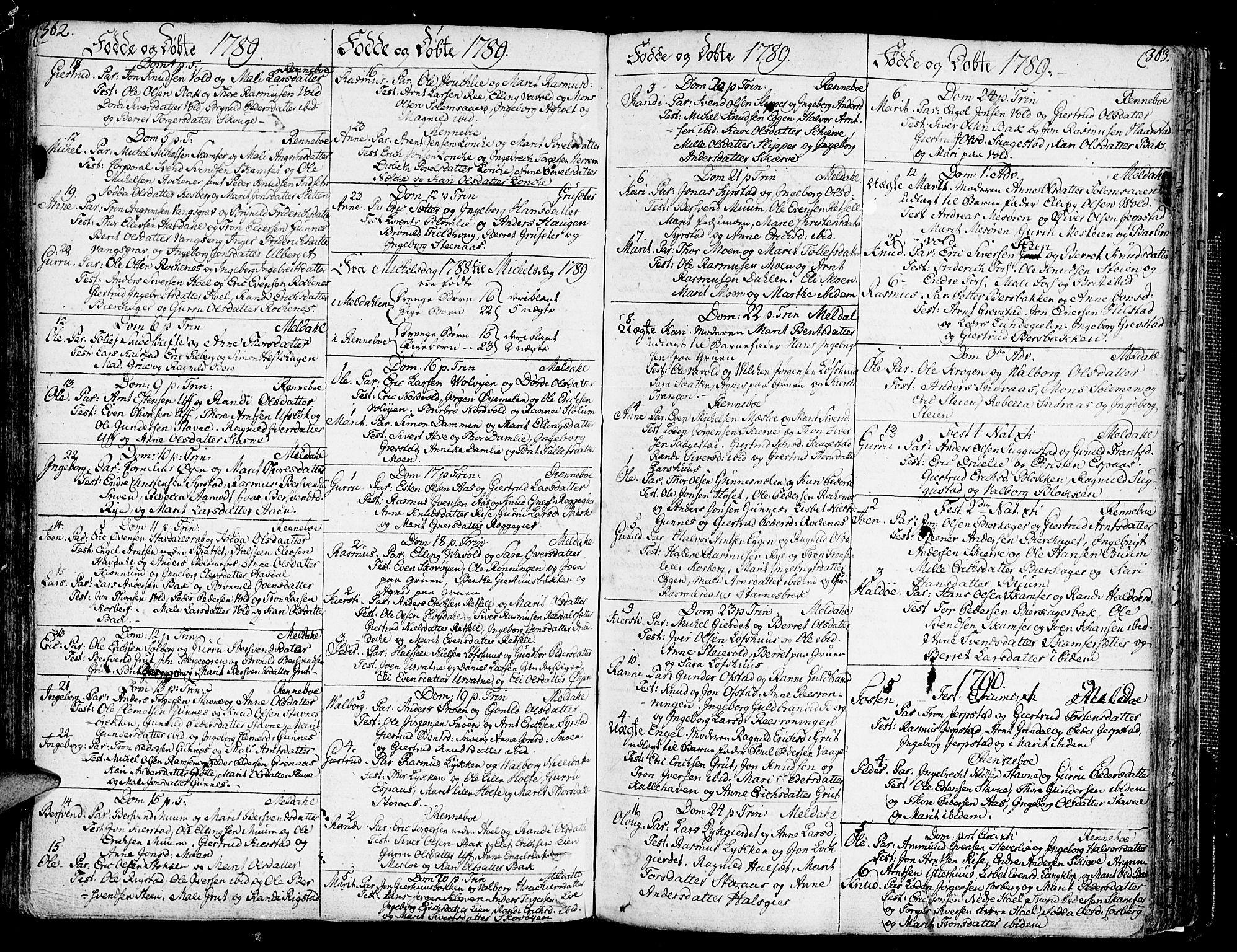 SAT, Ministerialprotokoller, klokkerbøker og fødselsregistre - Sør-Trøndelag, 672/L0852: Ministerialbok nr. 672A05, 1776-1815, s. 362-363