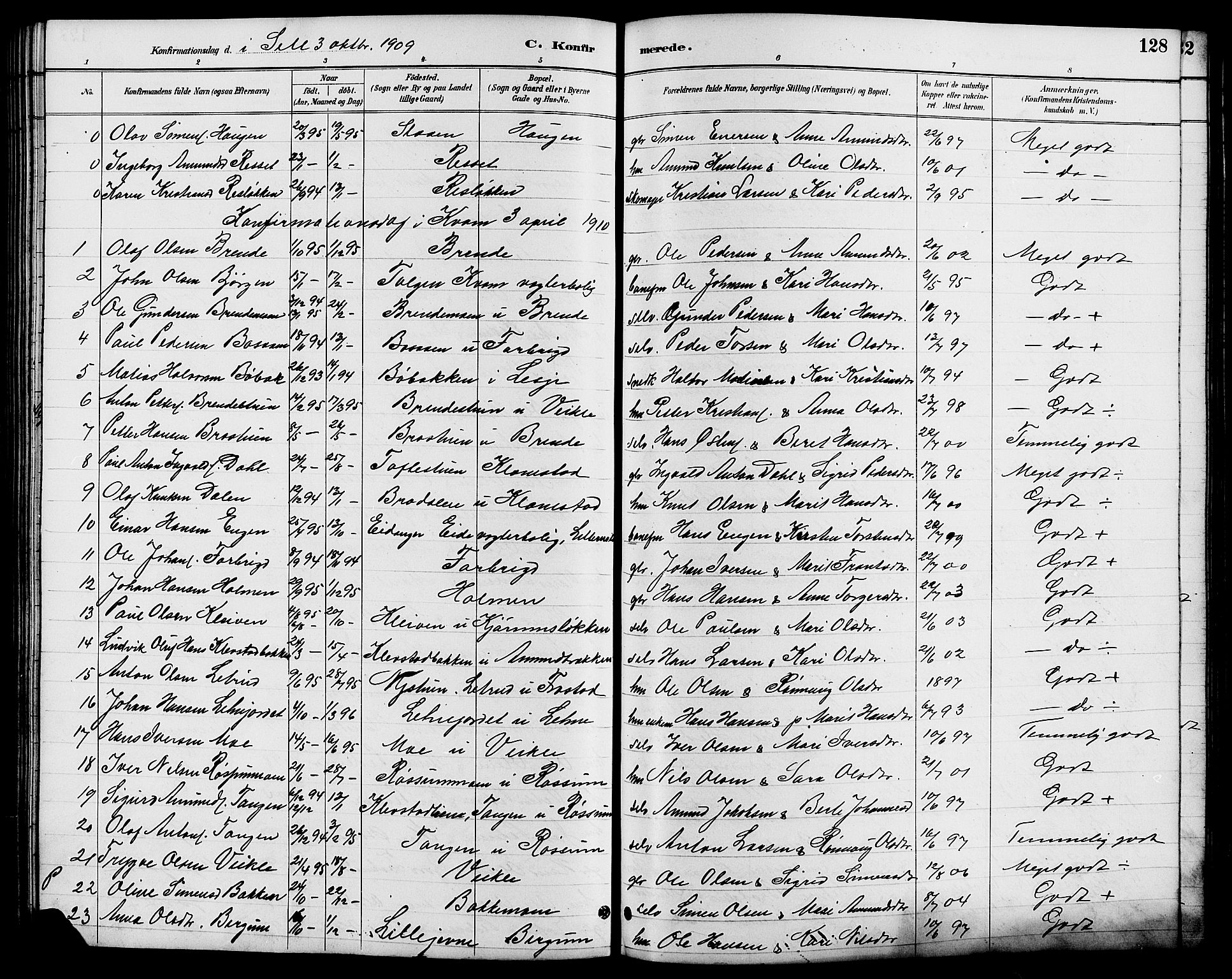 SAH, Nord-Fron prestekontor, Klokkerbok nr. 6, 1887-1914, s. 128