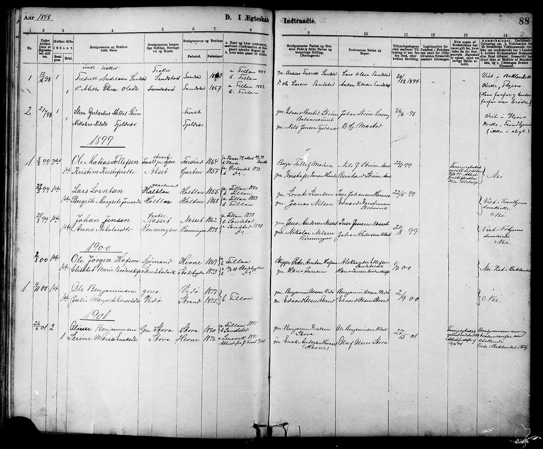 SAT, Ministerialprotokoller, klokkerbøker og fødselsregistre - Sør-Trøndelag, 639/L0573: Klokkerbok nr. 639C01, 1890-1905, s. 88