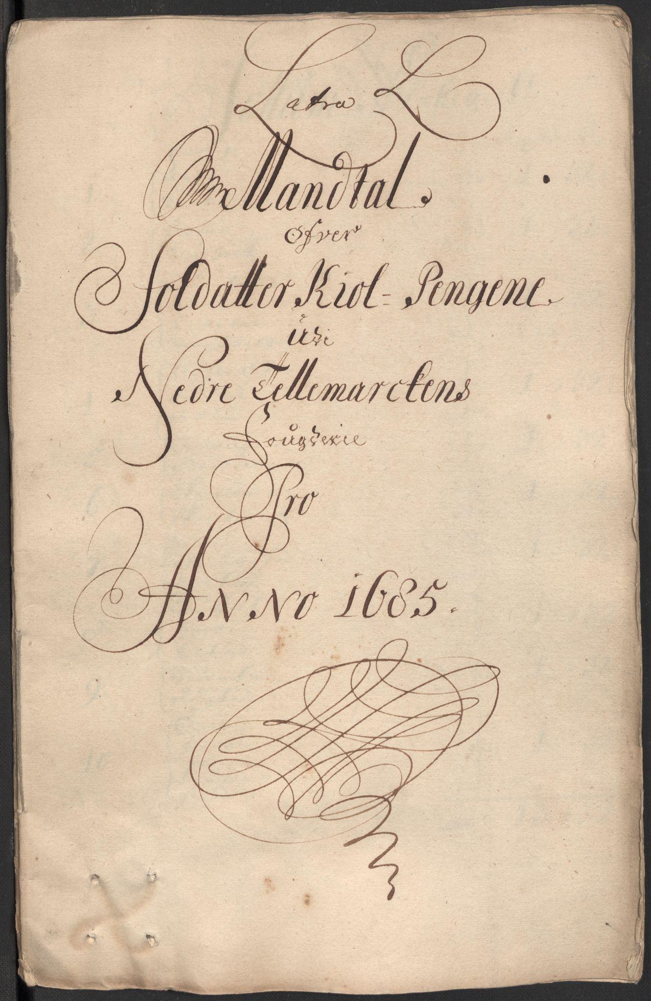RA, Rentekammeret inntil 1814, Reviderte regnskaper, Fogderegnskap, R35/L2082: Fogderegnskap Øvre og Nedre Telemark, 1685, s. 321