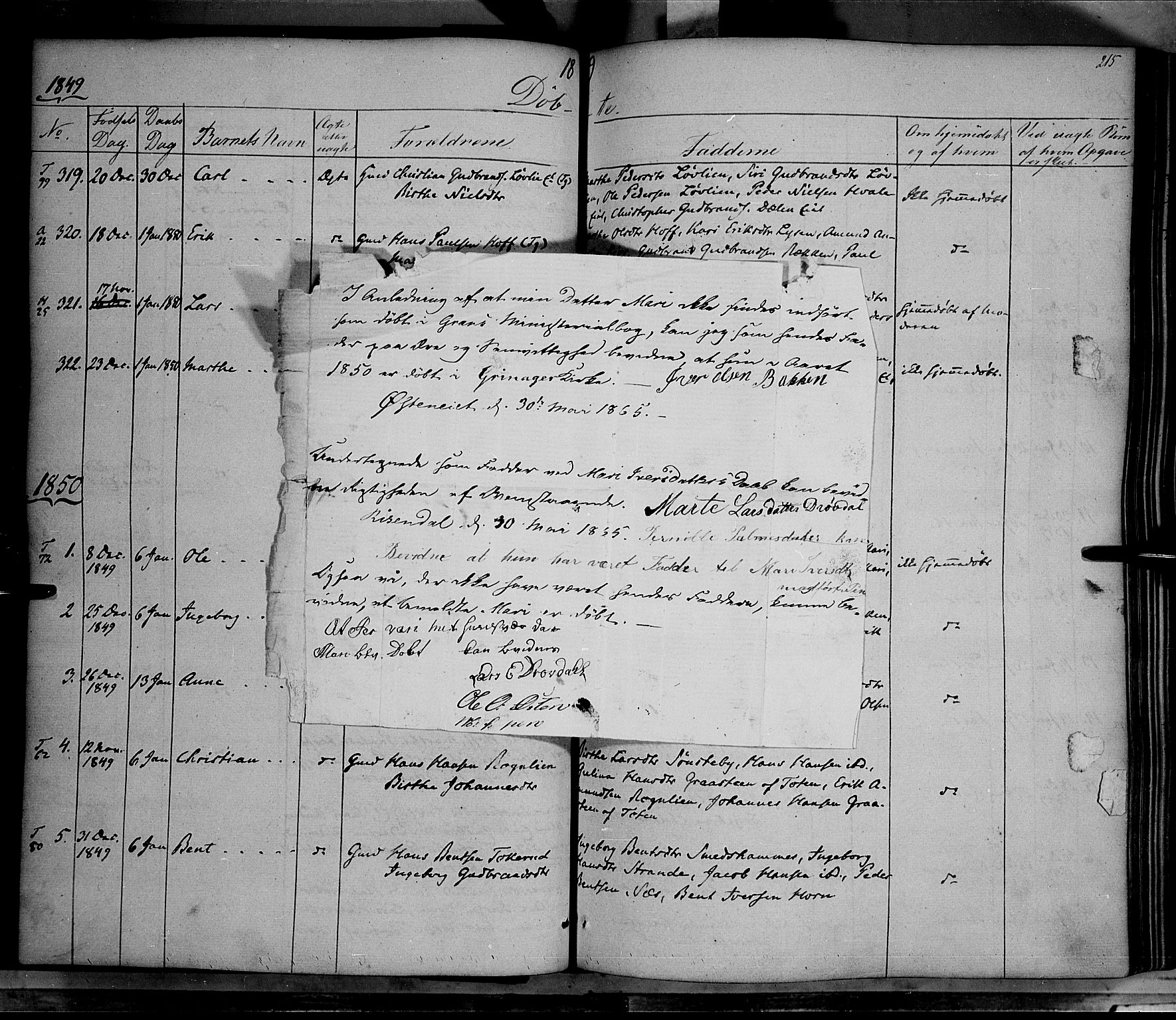 SAH, Gran prestekontor, Ministerialbok nr. 11, 1842-1856, s. 214-215