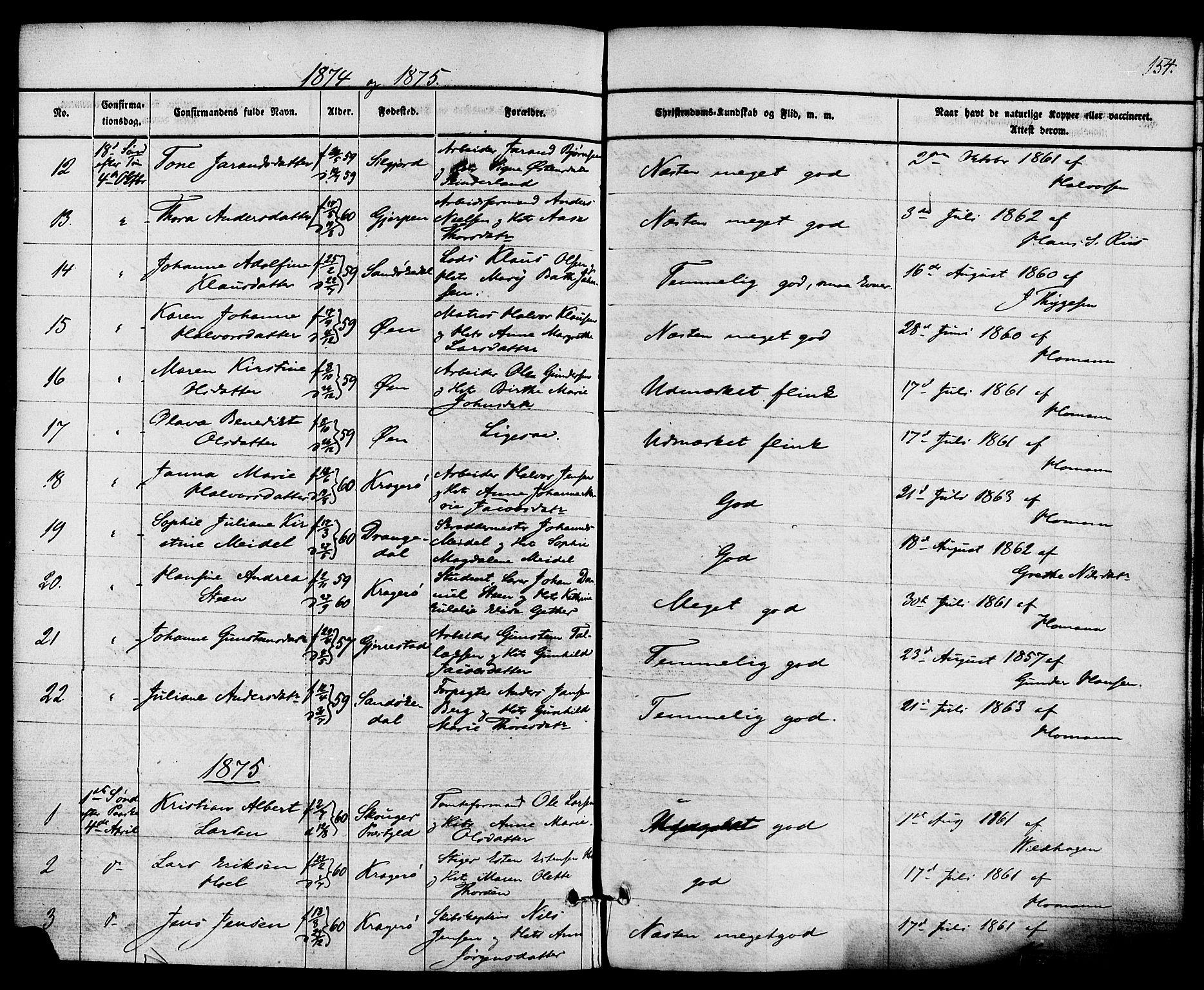 SAKO, Kragerø kirkebøker, F/Fa/L0008: Ministerialbok nr. 8, 1856-1880, s. 154