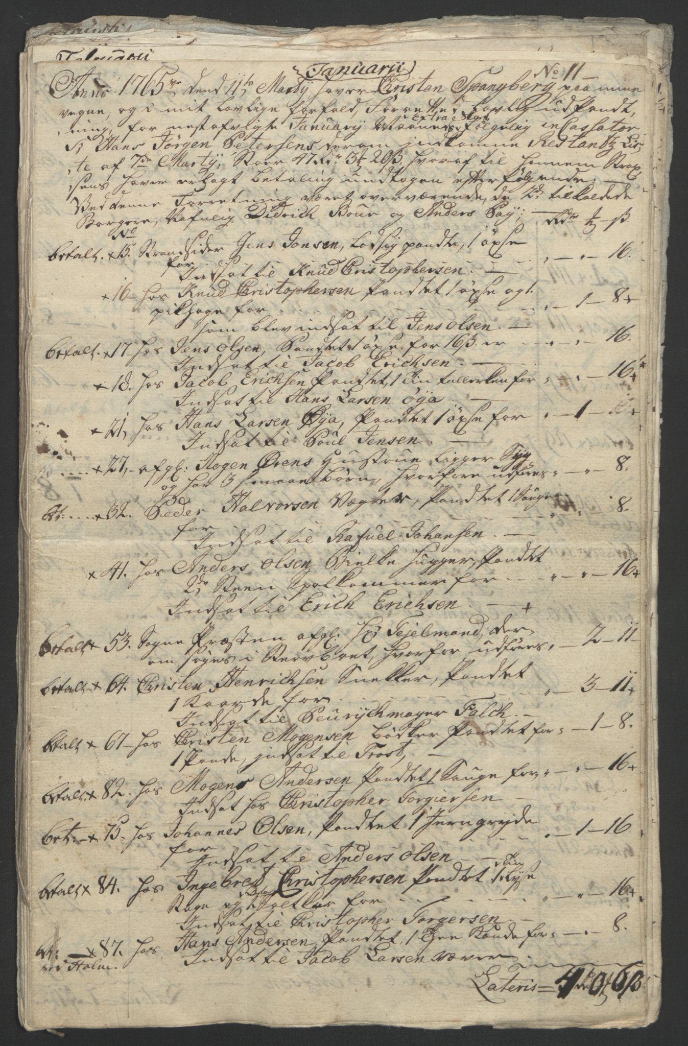 RA, Rentekammeret inntil 1814, Reviderte regnskaper, Byregnskaper, R/Rf/L0119: [F2] Kontribusjonsregnskap, 1762-1767, s. 317