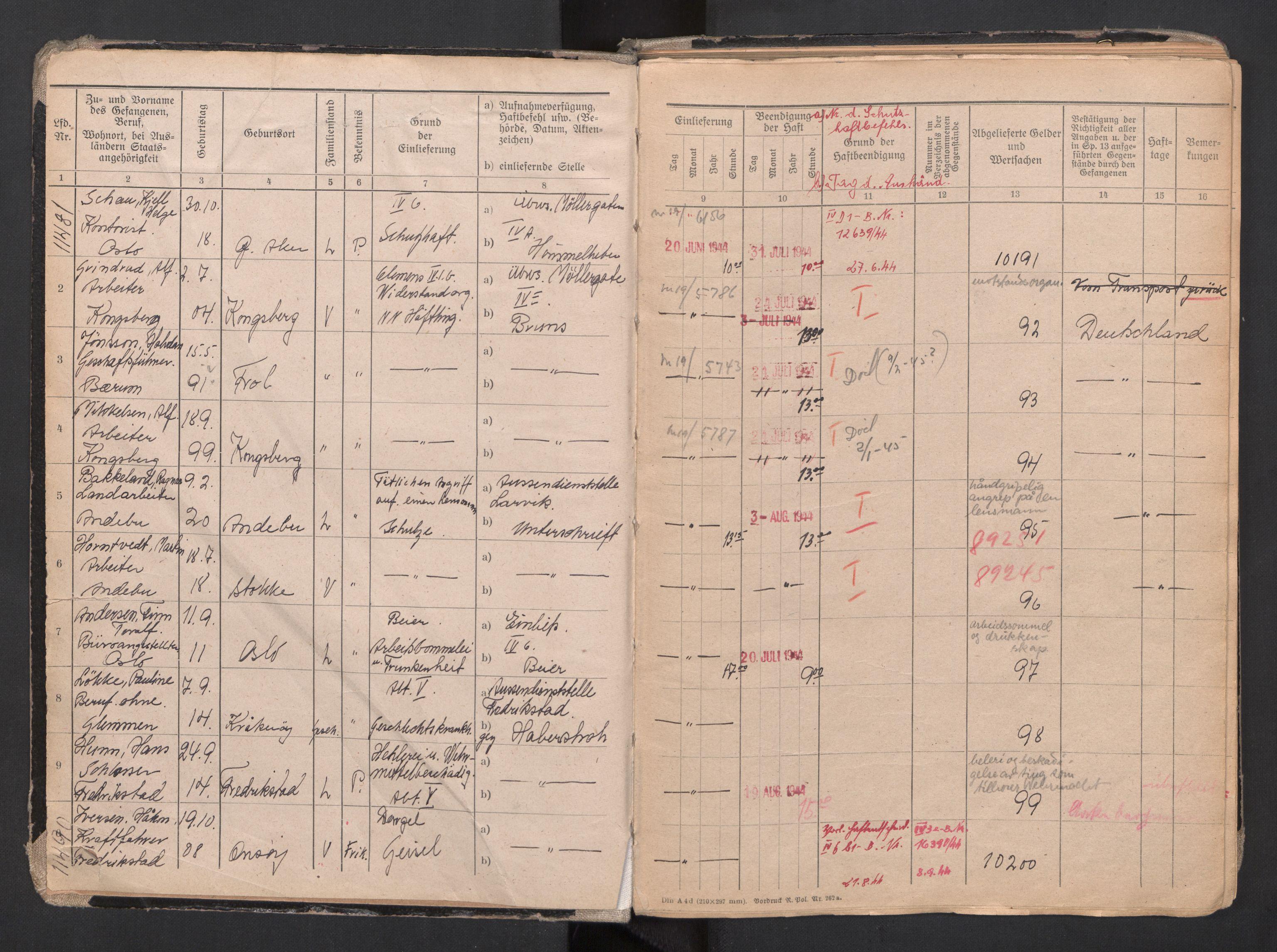 RA, Befehlshaber der Sicherheitspolizei und des SD, F/Fa/Faa/L0007: Fangeprotokoll. - Gefangenen-Buch B. Fangenr. 11481-13930, 1944