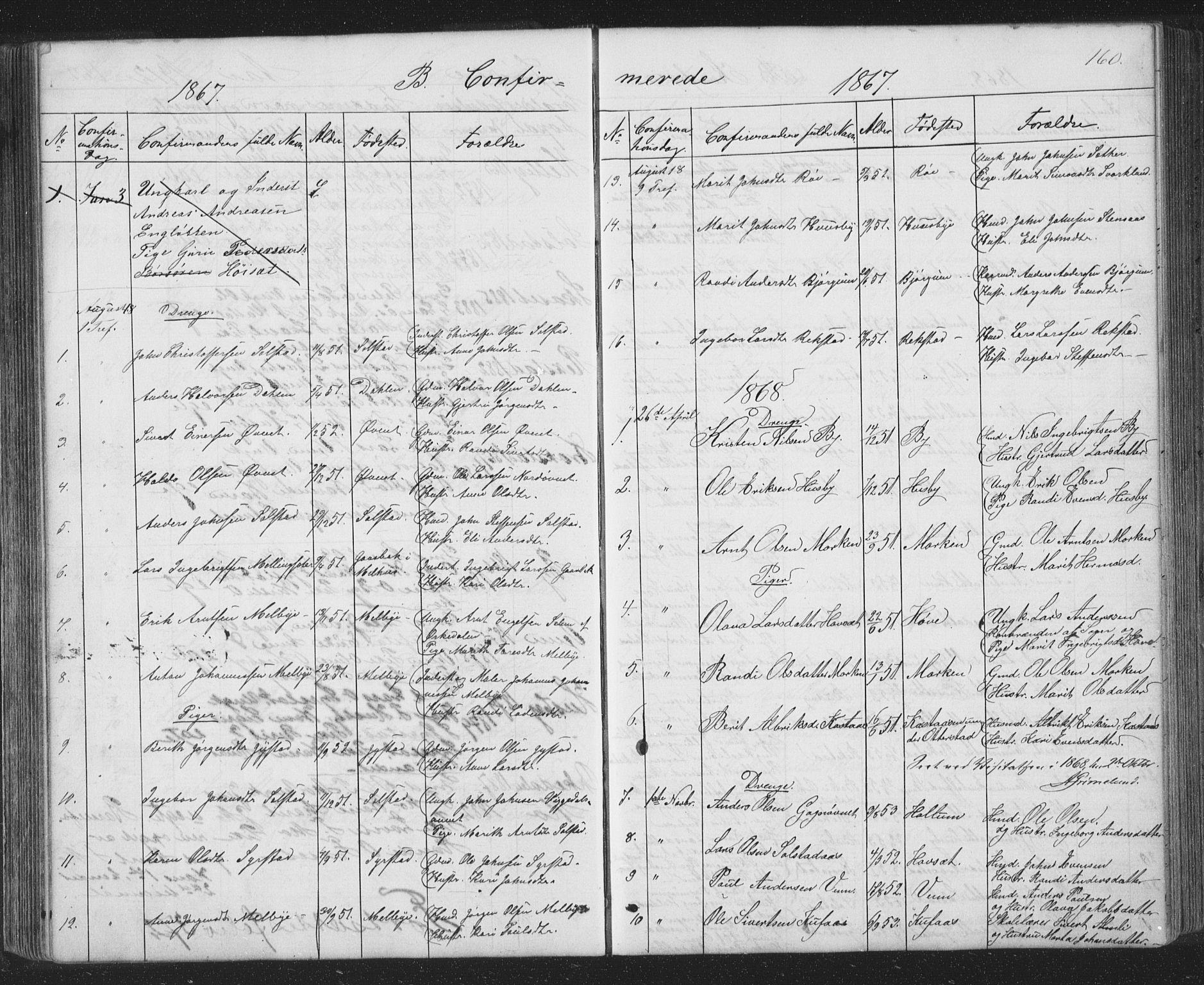 SAT, Ministerialprotokoller, klokkerbøker og fødselsregistre - Sør-Trøndelag, 667/L0798: Klokkerbok nr. 667C03, 1867-1929, s. 160