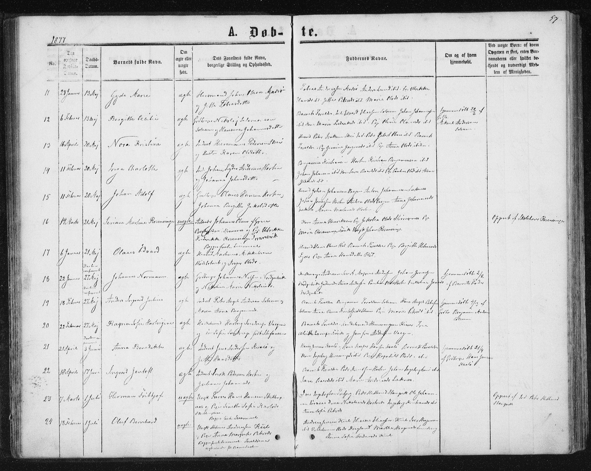 SAT, Ministerialprotokoller, klokkerbøker og fødselsregistre - Nord-Trøndelag, 788/L0696: Ministerialbok nr. 788A03, 1863-1877, s. 57