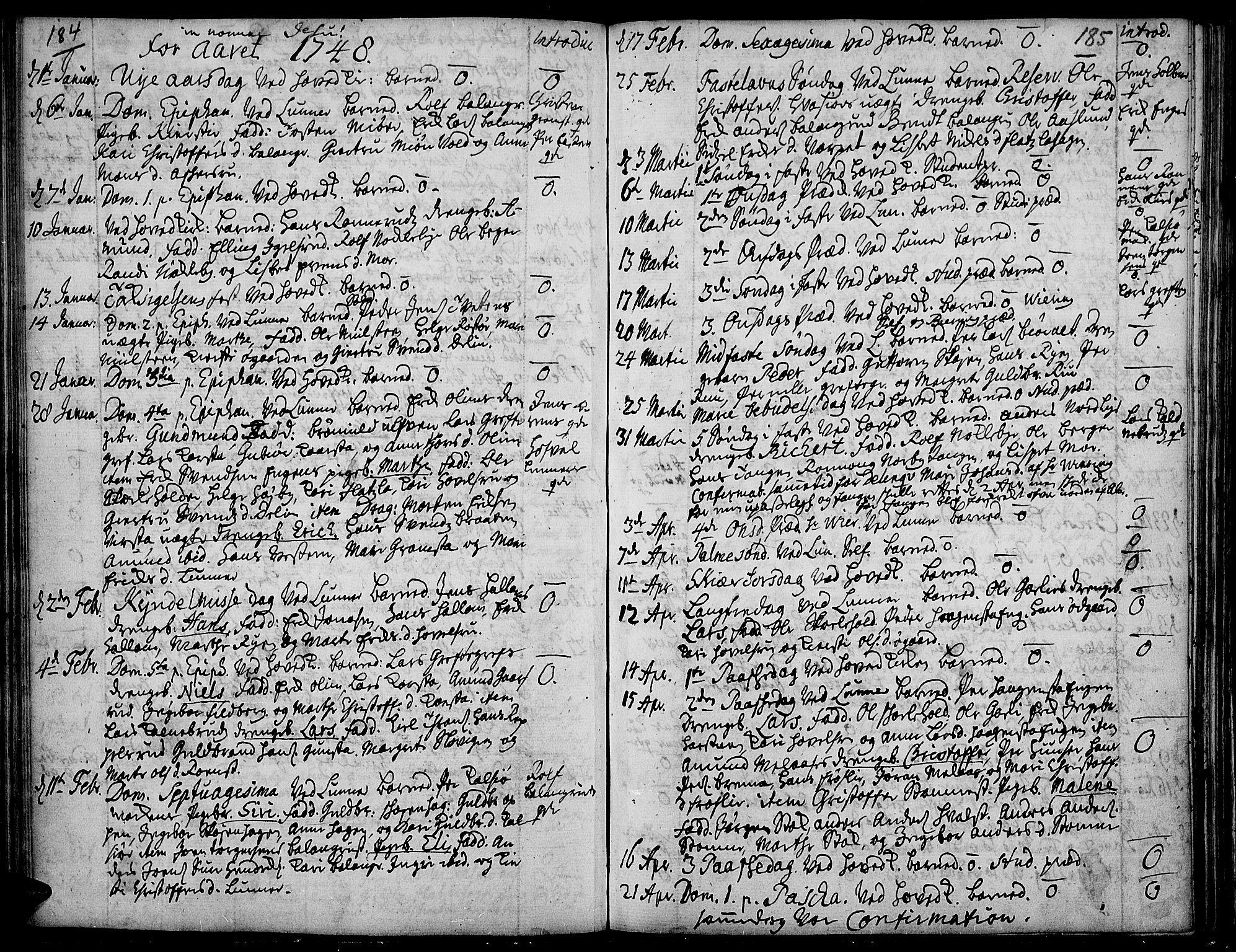 SAH, Jevnaker prestekontor, Ministerialbok nr. 2, 1725-1751, s. 184-185
