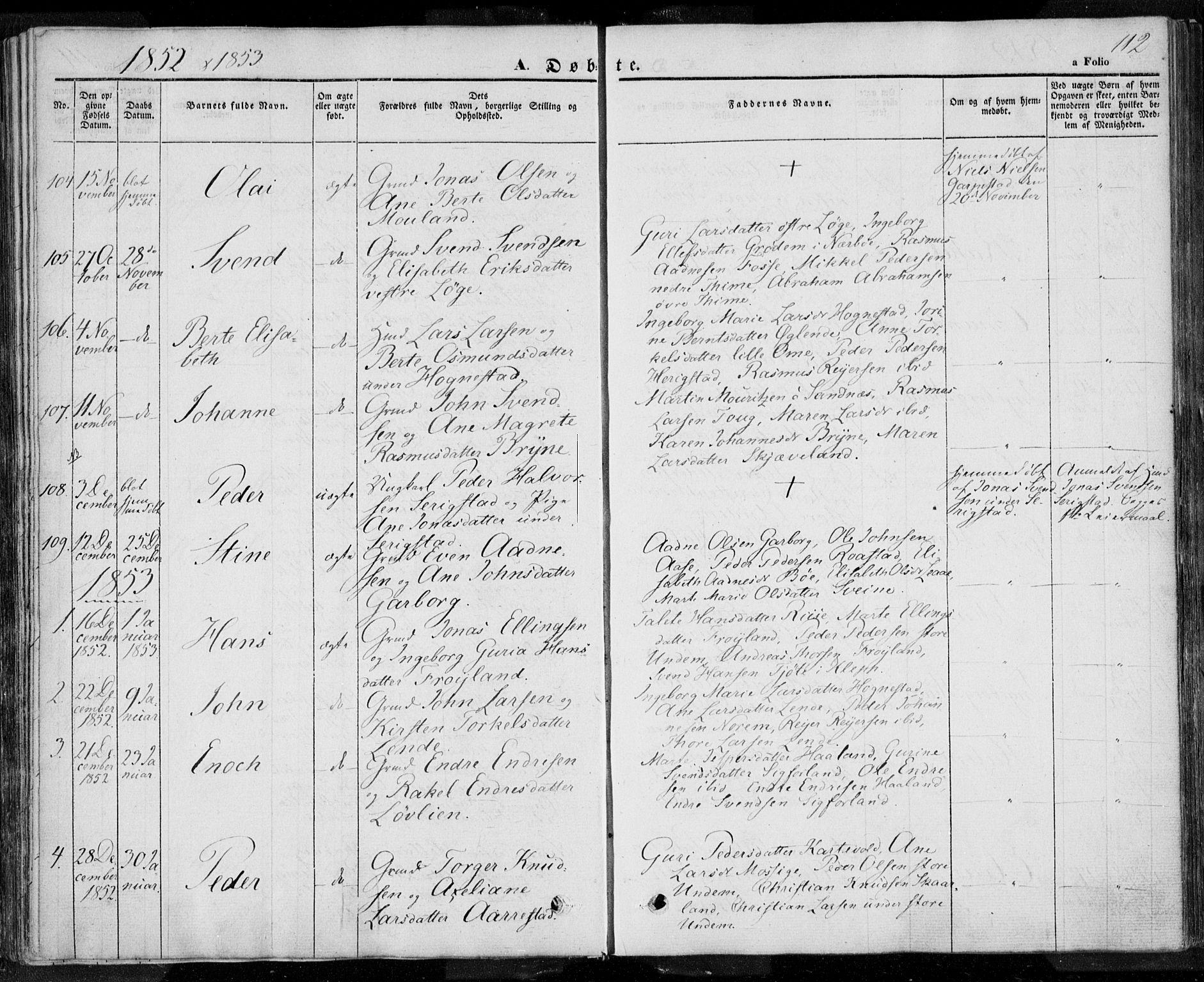 SAST, Lye sokneprestkontor, 30BA/L0005: Ministerialbok nr. A 5.1, 1842-1855, s. 112