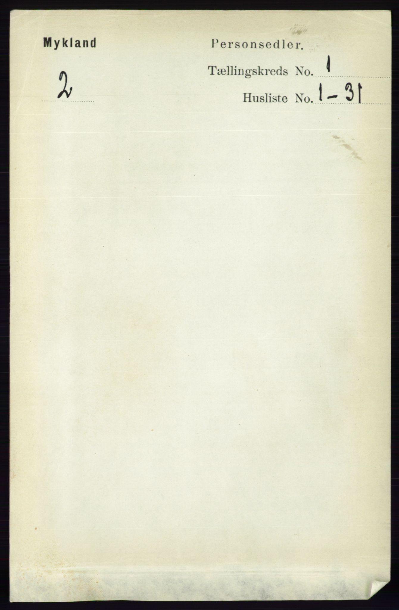RA, Folketelling 1891 for 0932 Mykland herred, 1891, s. 45