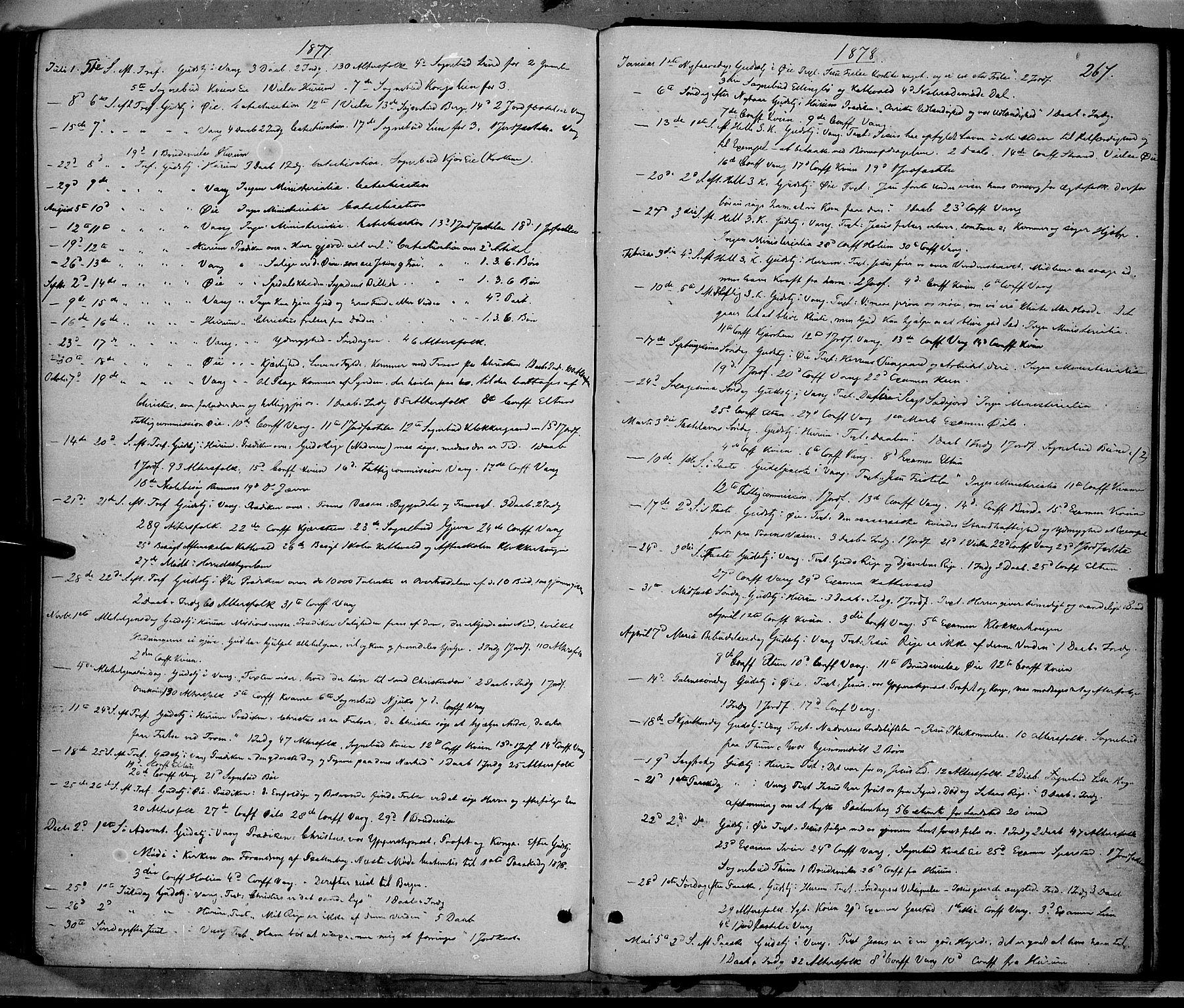SAH, Vang prestekontor, Valdres, Ministerialbok nr. 7, 1865-1881, s. 267