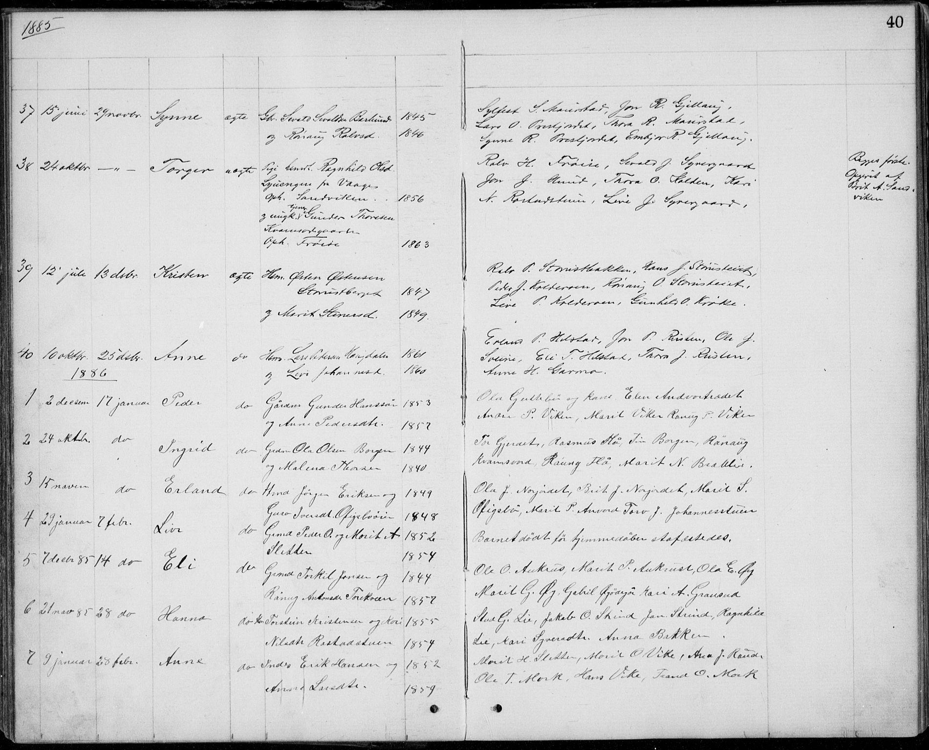 SAH, Lom prestekontor, L/L0013: Klokkerbok nr. 13, 1874-1938, s. 40