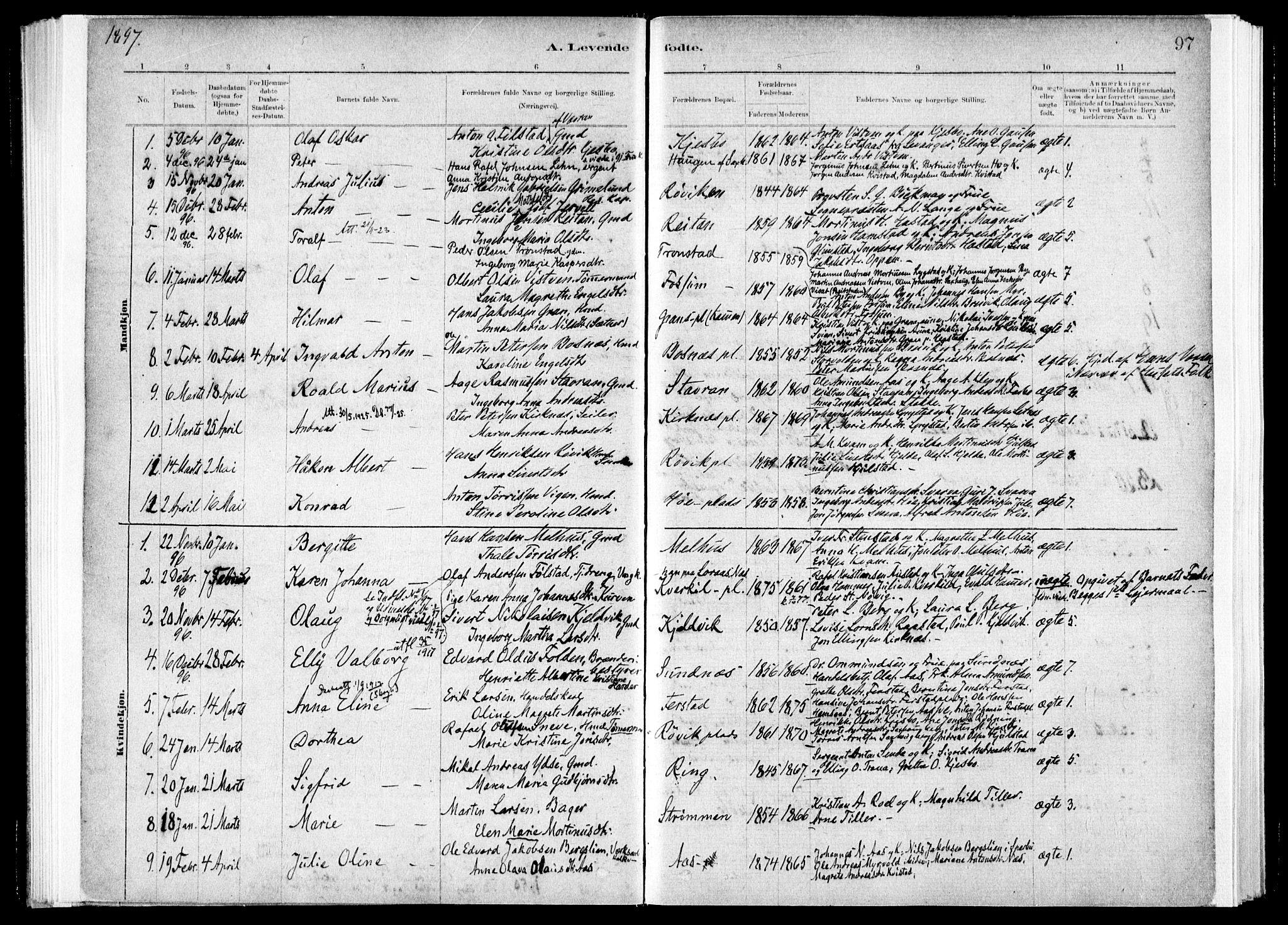 SAT, Ministerialprotokoller, klokkerbøker og fødselsregistre - Nord-Trøndelag, 730/L0285: Ministerialbok nr. 730A10, 1879-1914, s. 97