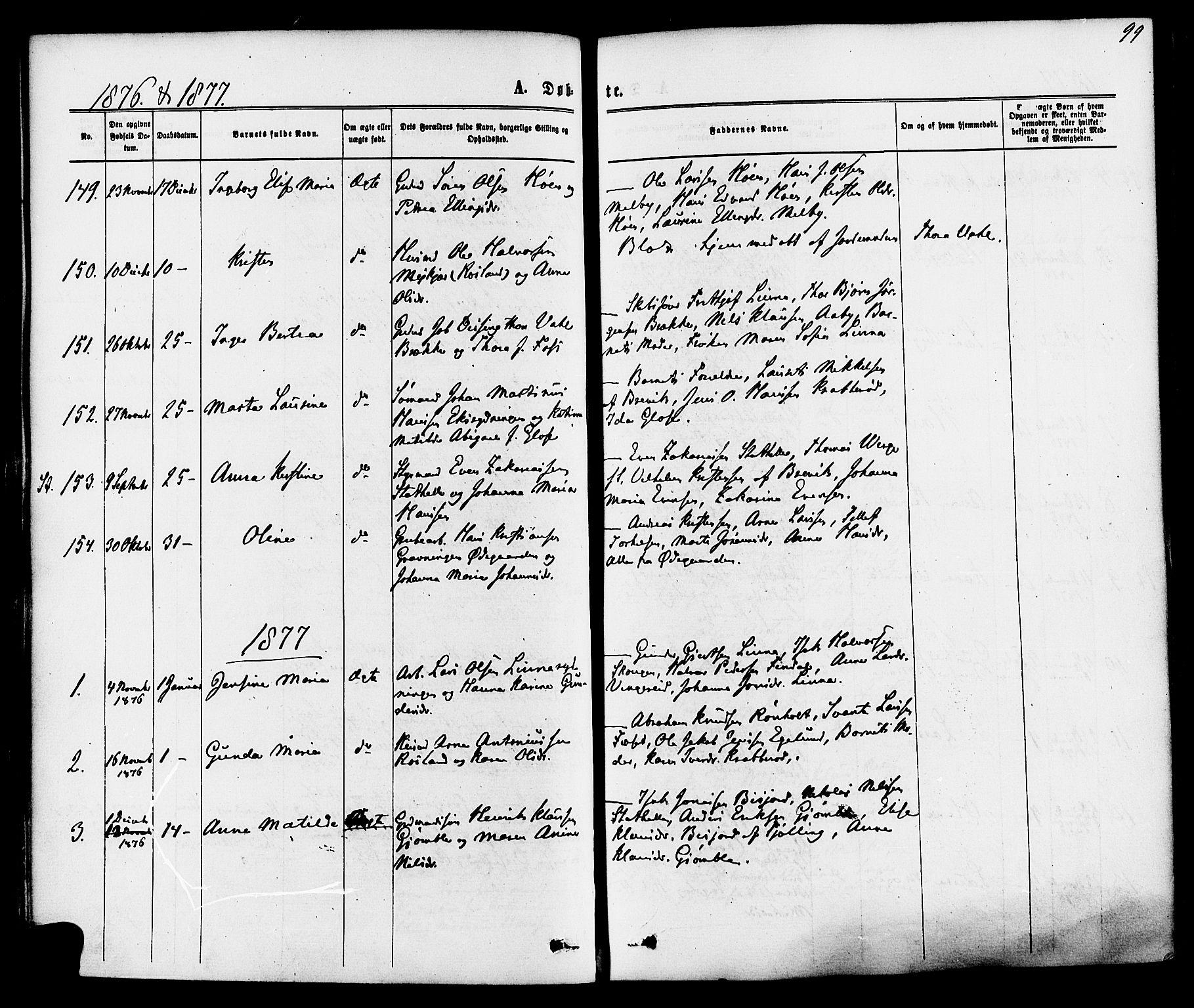 SAKO, Bamble kirkebøker, F/Fa/L0006: Ministerialbok nr. I 6, 1869-1877, s. 99