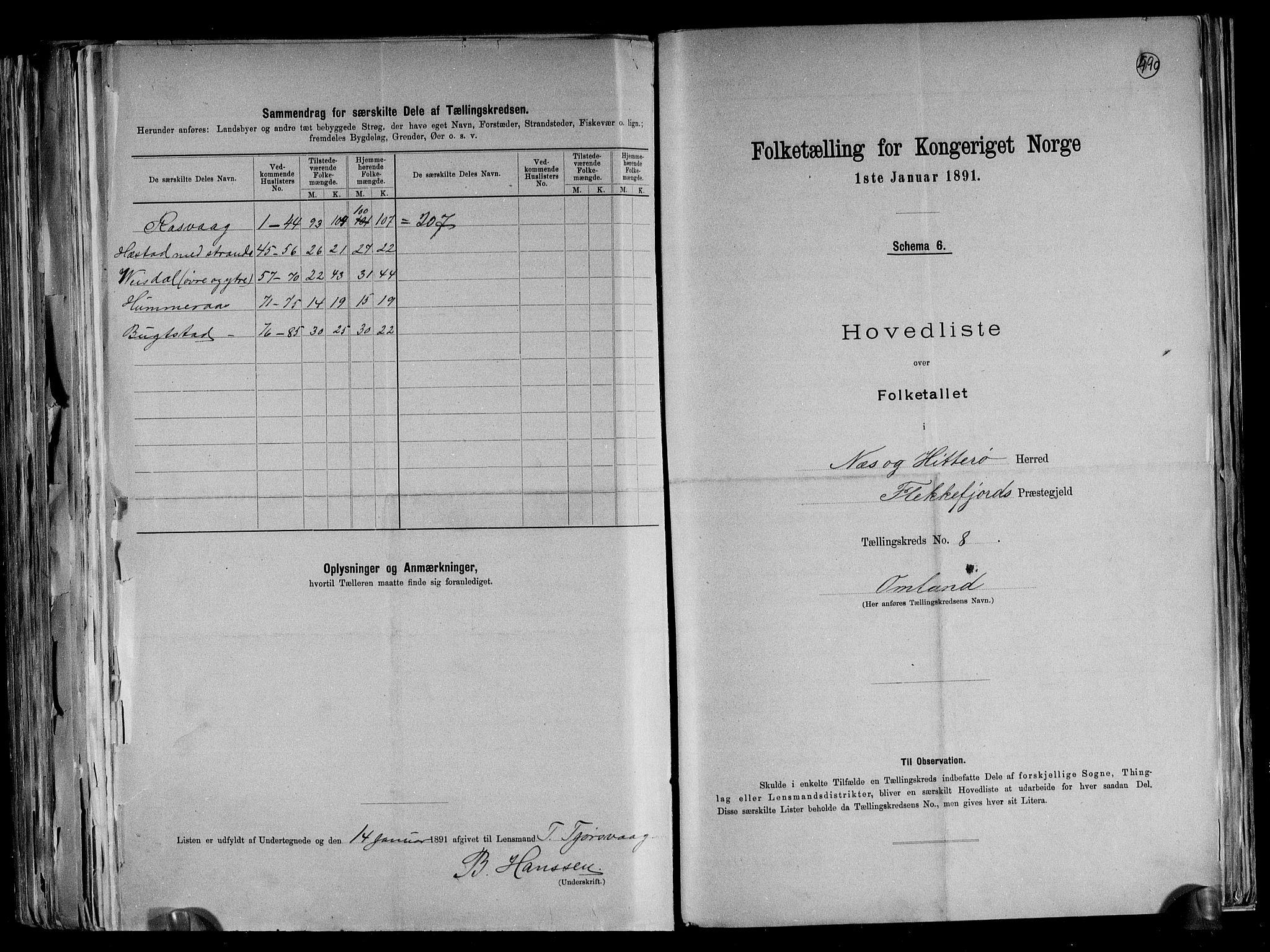RA, Folketelling 1891 for 1043 Hidra og Nes herred, 1891, s. 20