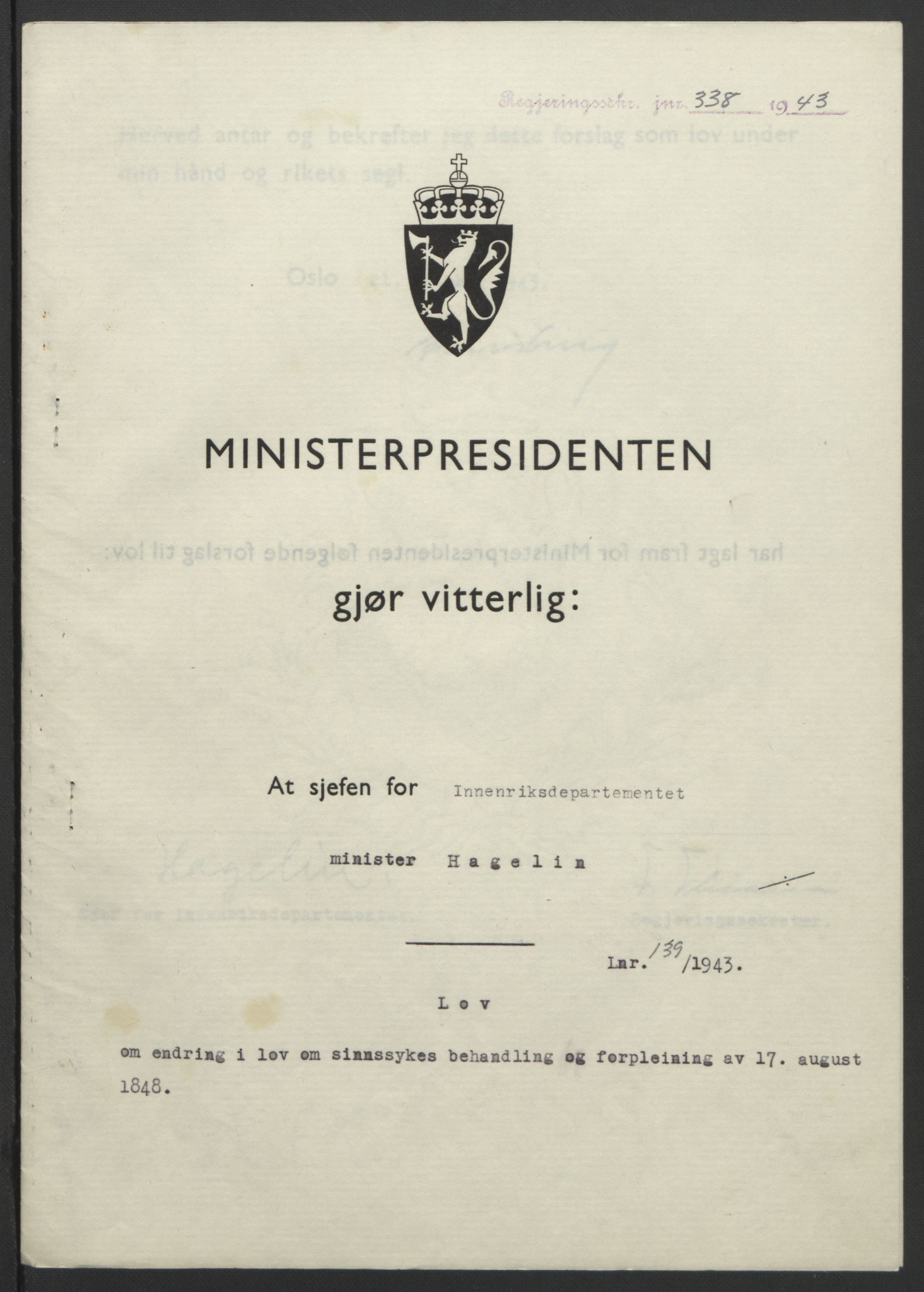 RA, NS-administrasjonen 1940-1945 (Statsrådsekretariatet, de kommisariske statsråder mm), D/Db/L0099: Lover, 1943, s. 648