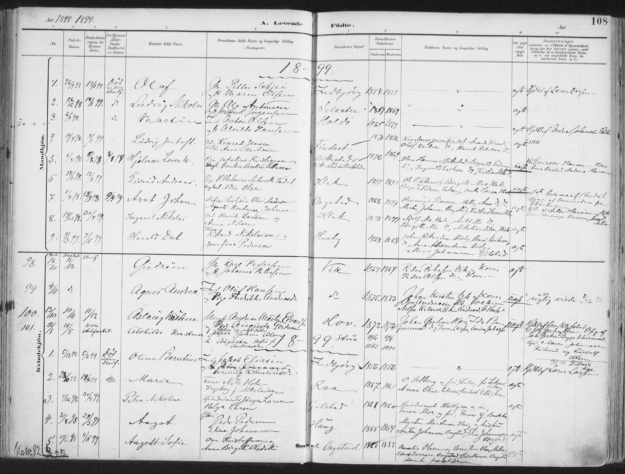 SAT, Ministerialprotokoller, klokkerbøker og fødselsregistre - Nordland, 888/L1246: Ministerialbok nr. 888A12, 1891-1903, s. 108