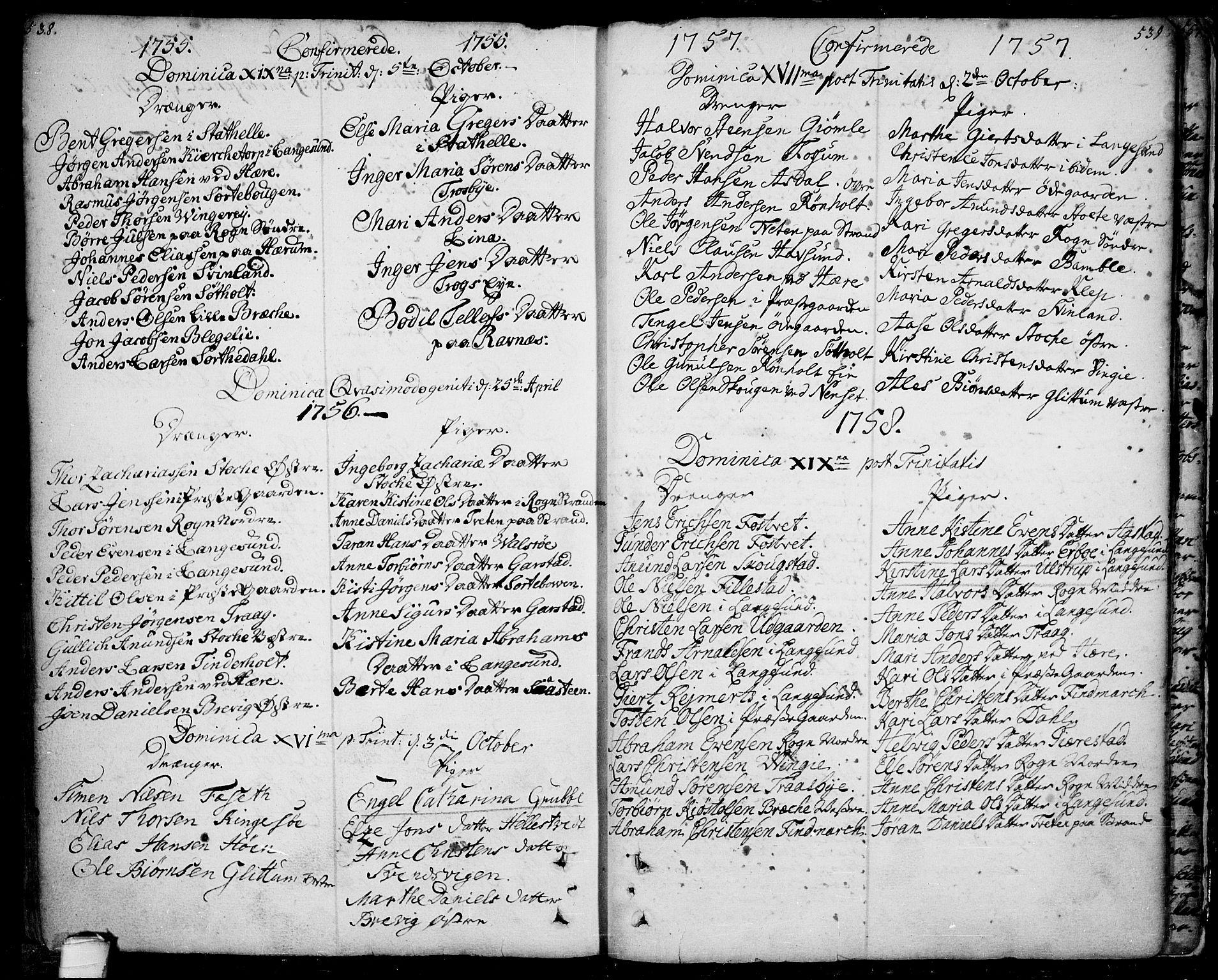 SAKO, Bamble kirkebøker, F/Fa/L0001: Ministerialbok nr. I 1, 1702-1774, s. 538-539