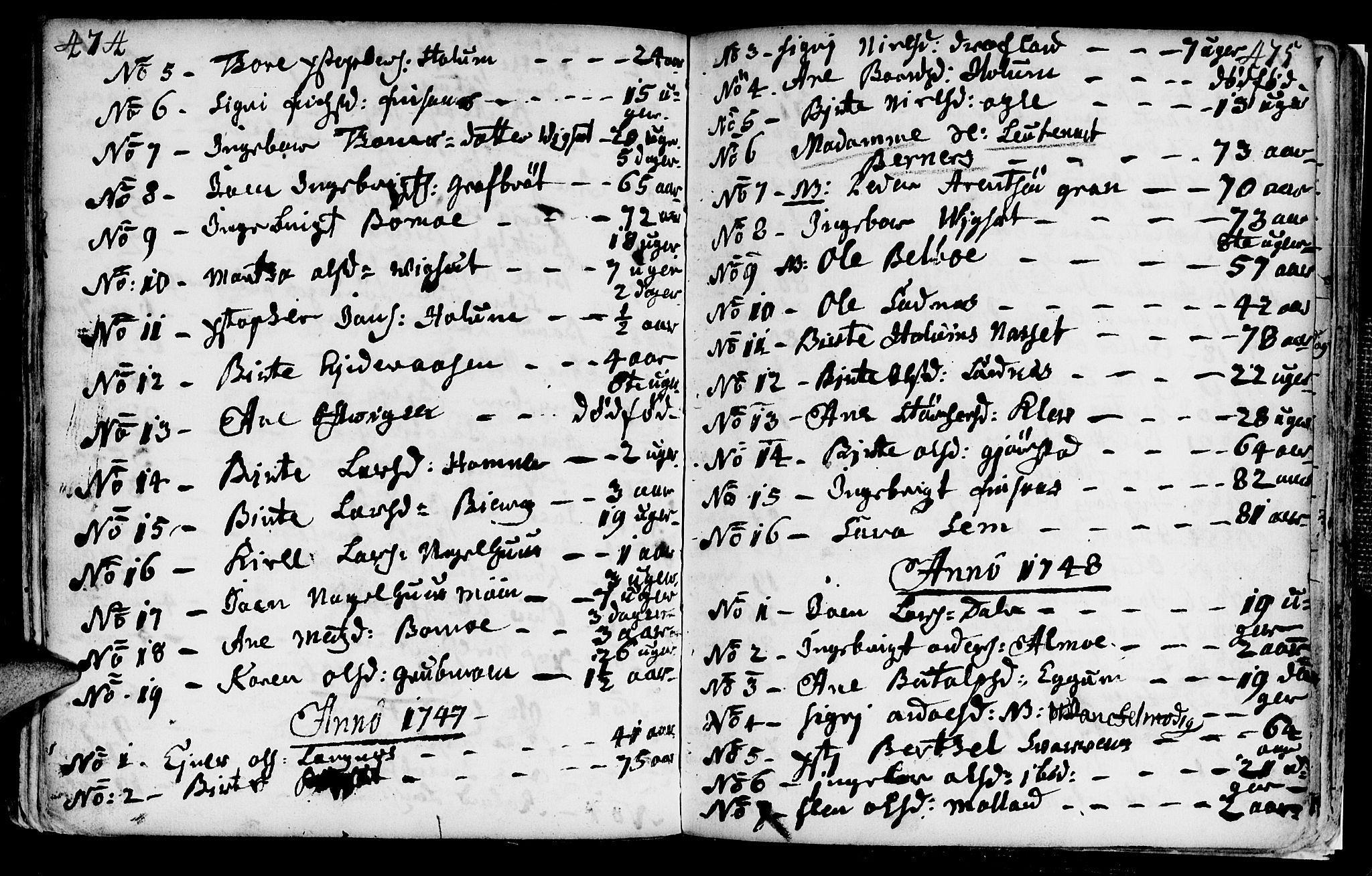 SAT, Ministerialprotokoller, klokkerbøker og fødselsregistre - Nord-Trøndelag, 749/L0467: Ministerialbok nr. 749A01, 1733-1787, s. 474-475
