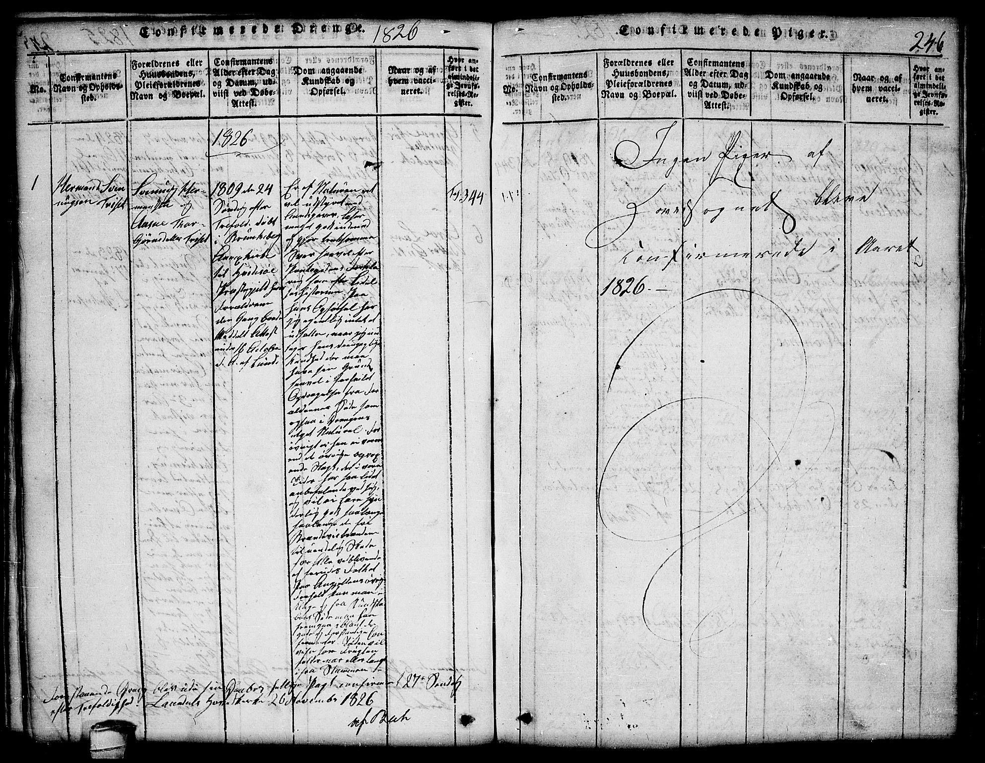 SAKO, Lårdal kirkebøker, G/Ga/L0001: Klokkerbok nr. I 1, 1815-1861, s. 246