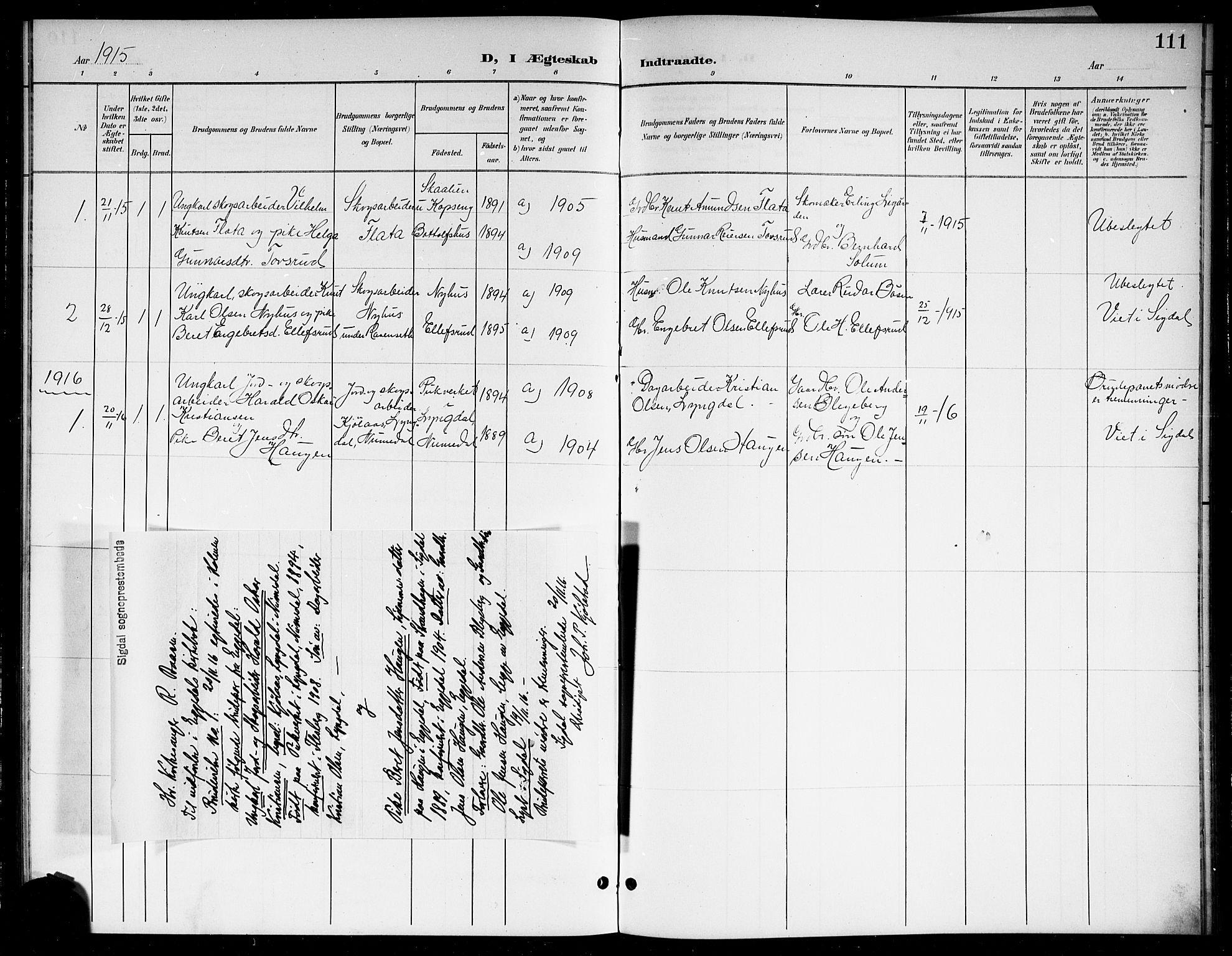 SAKO, Sigdal kirkebøker, G/Gb/L0003: Klokkerbok nr. II 3, 1901-1916, s. 111