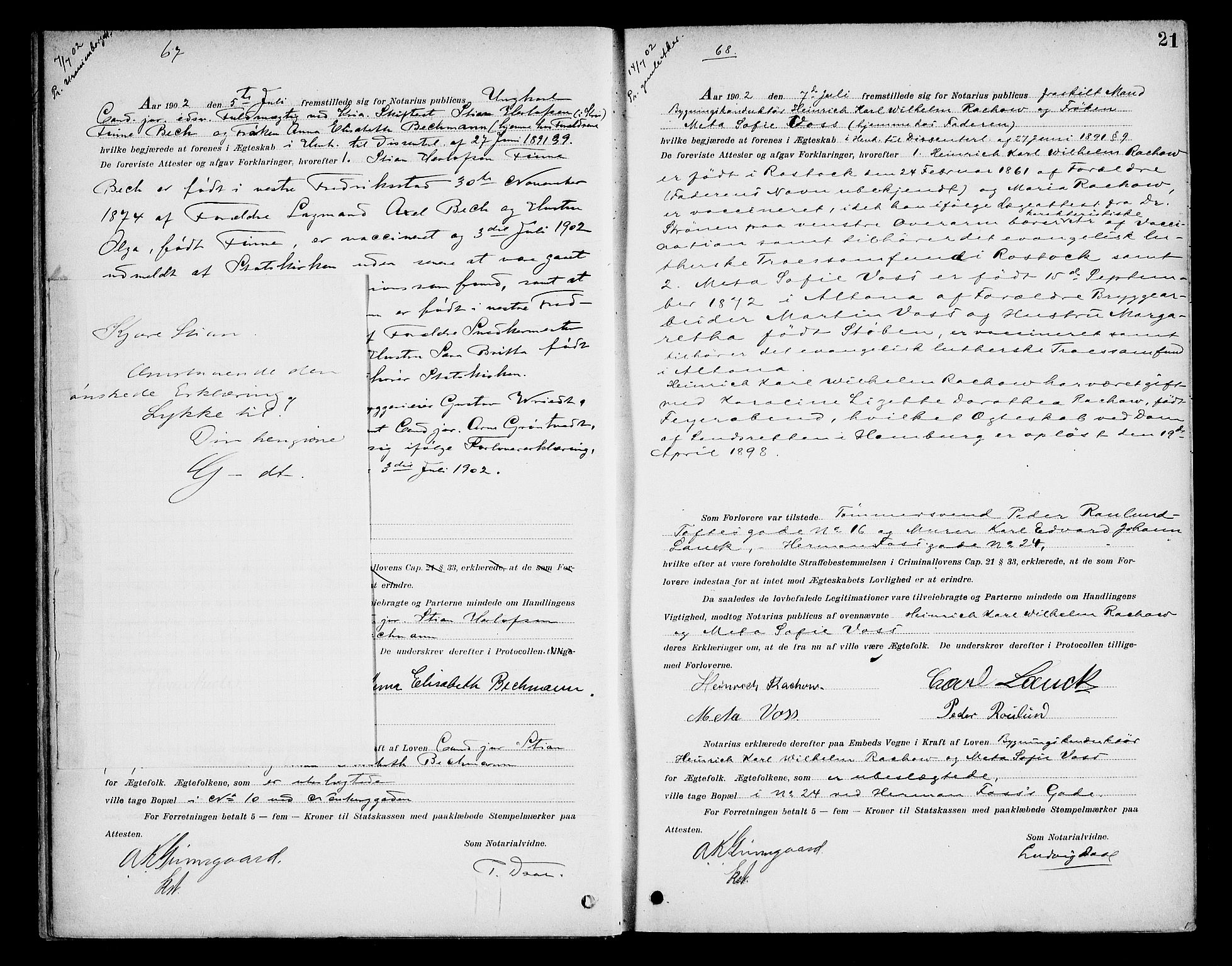 SAO, Oslo byfogd avd. I, L/Lb/Lbb/L0006: Notarialprotokoll, rekke II: Vigsler, 1902-1907, s. 20b-21a