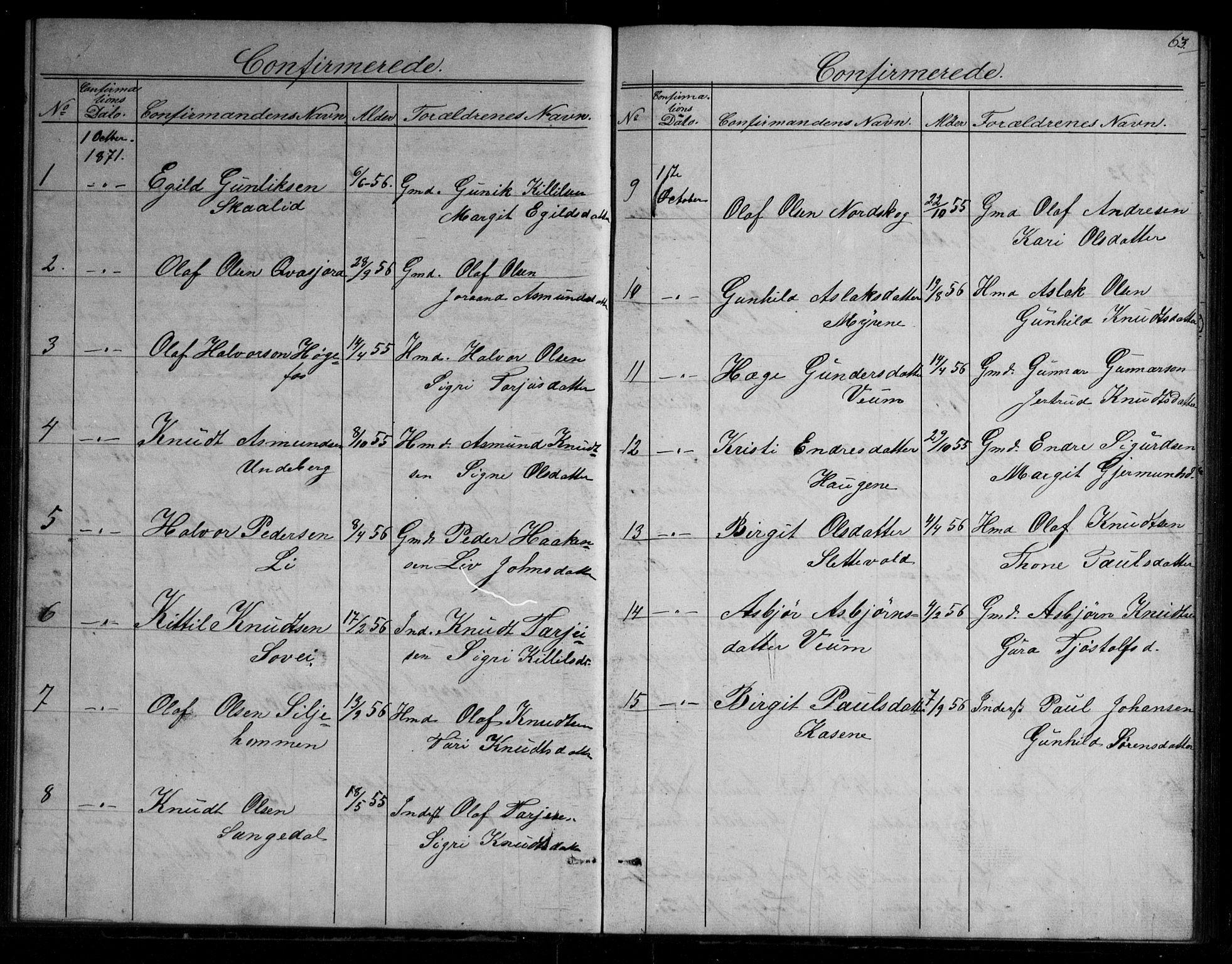 SAKO, Fyresdal kirkebøker, G/Gb/L0001: Klokkerbok nr. II 1, 1864-1890, s. 63