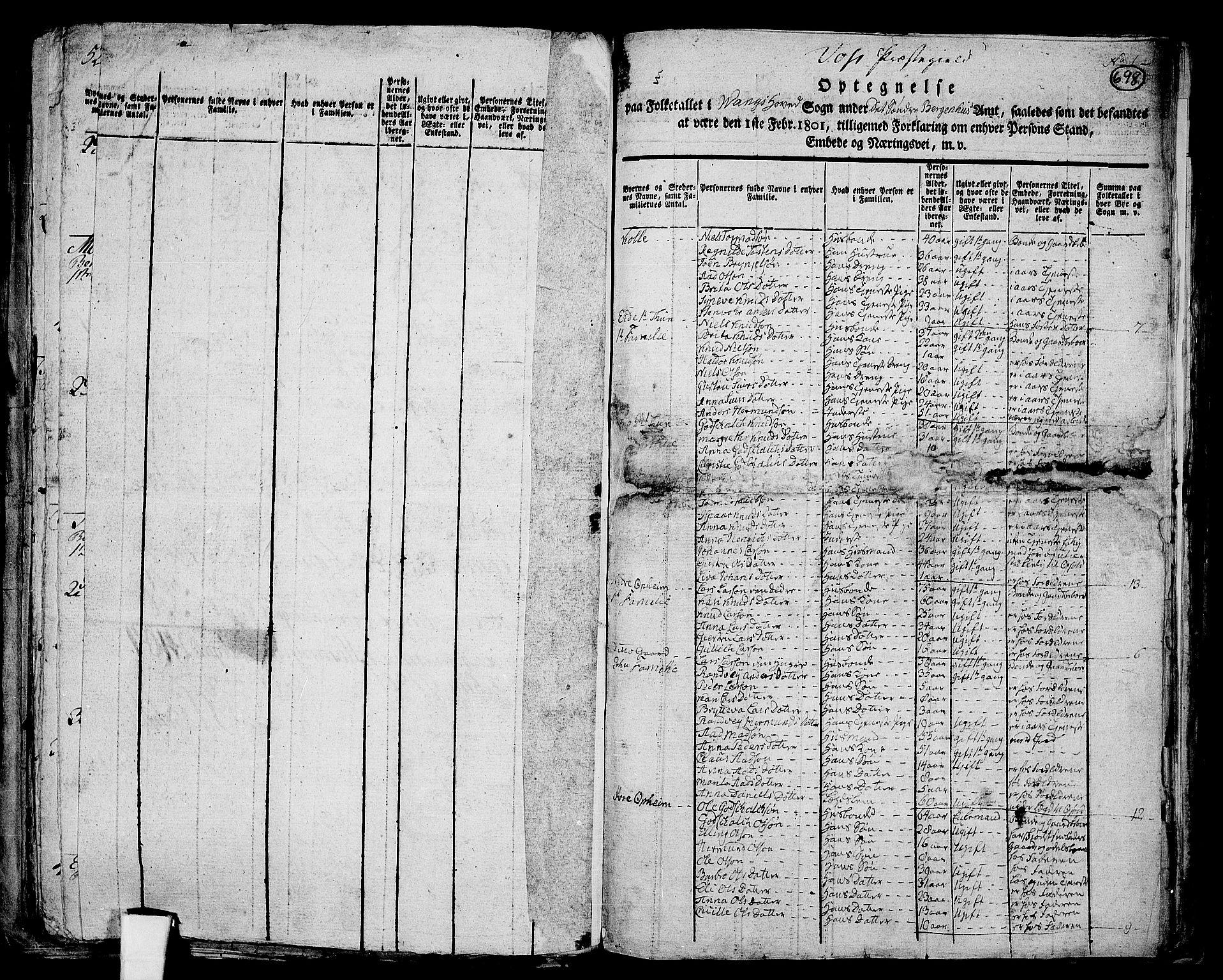 RA, Folketelling 1801 for 1235P Voss prestegjeld, 1801, s. 697b-698a