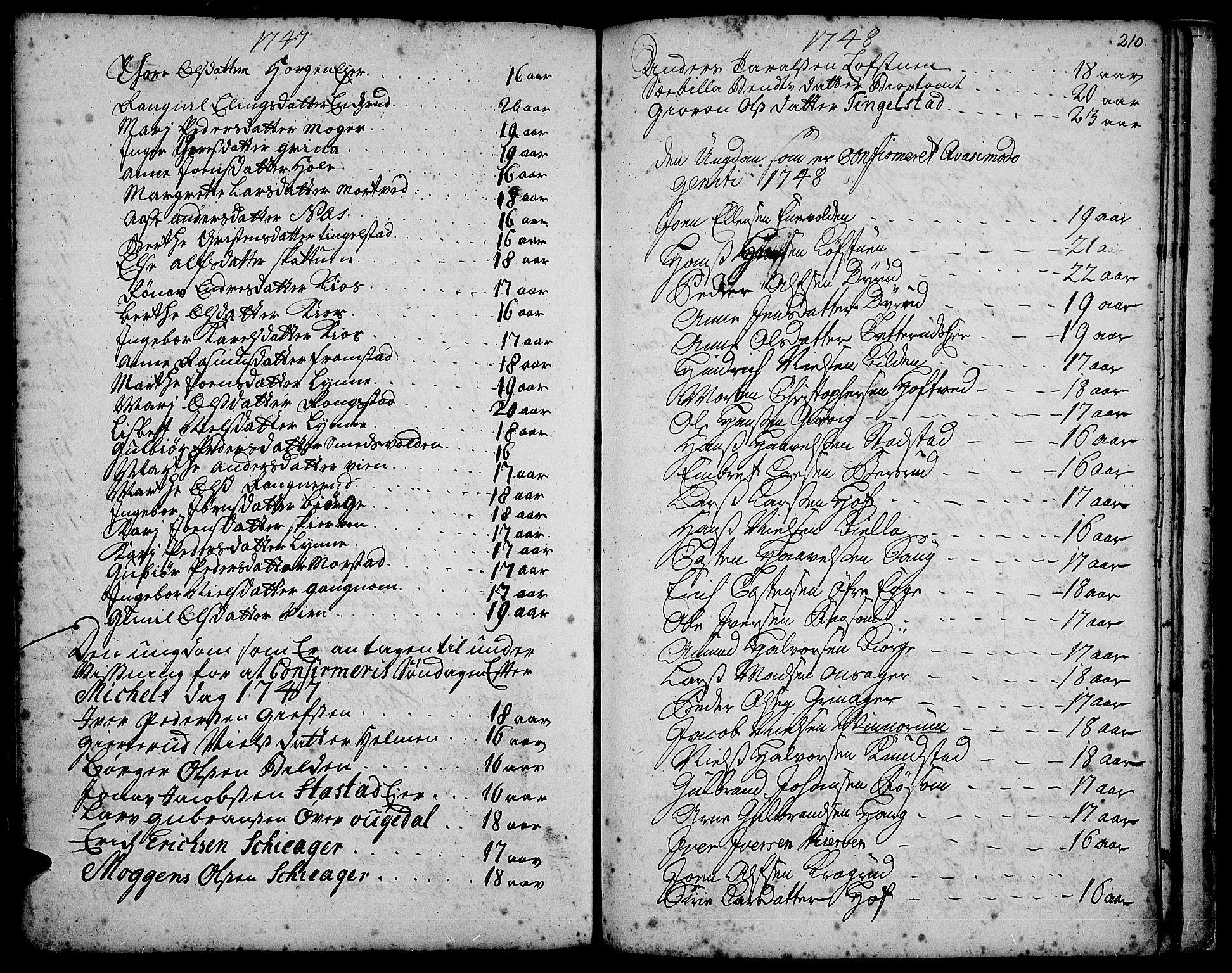 SAH, Gran prestekontor, Ministerialbok nr. 3, 1745-1758, s. 210
