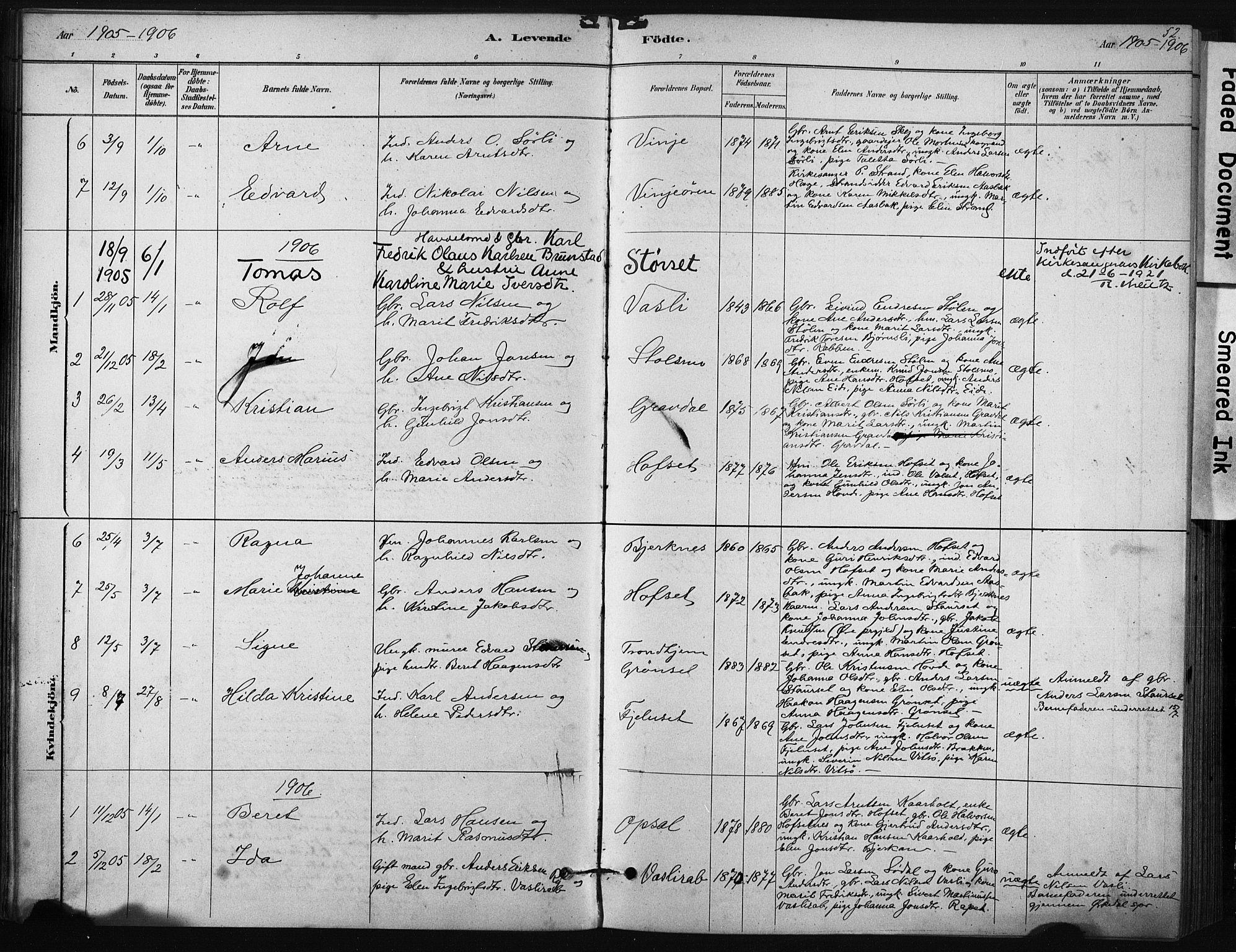 SAT, Ministerialprotokoller, klokkerbøker og fødselsregistre - Sør-Trøndelag, 631/L0512: Ministerialbok nr. 631A01, 1879-1912, s. 52