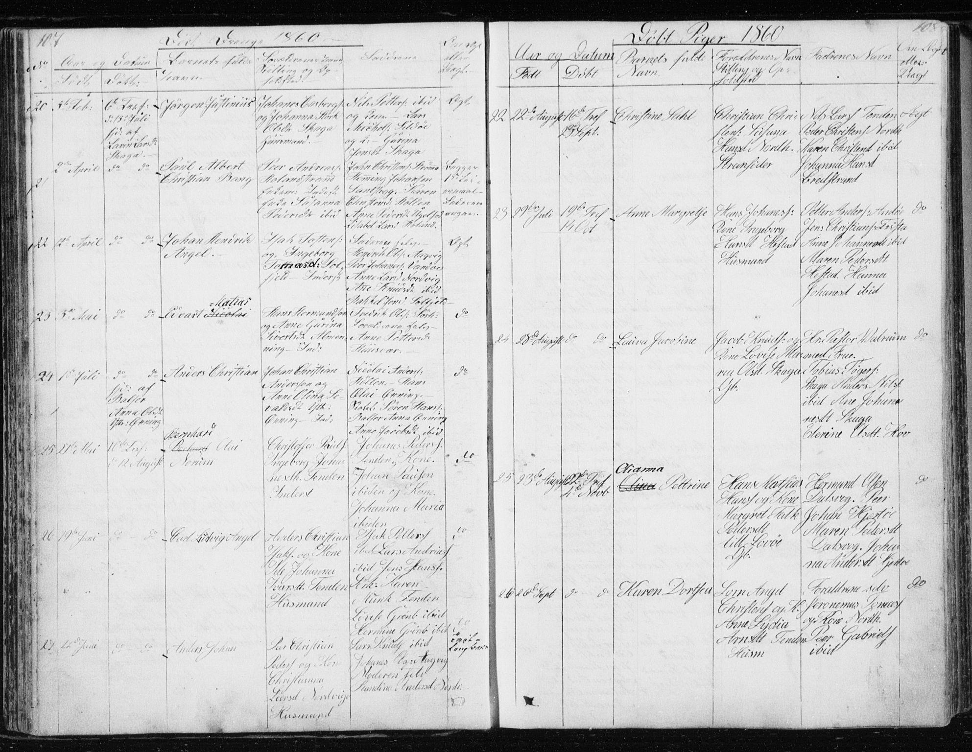 SAT, Ministerialprotokoller, klokkerbøker og fødselsregistre - Nordland, 834/L0511: Klokkerbok nr. 834C02, 1848-1862, s. 107-108