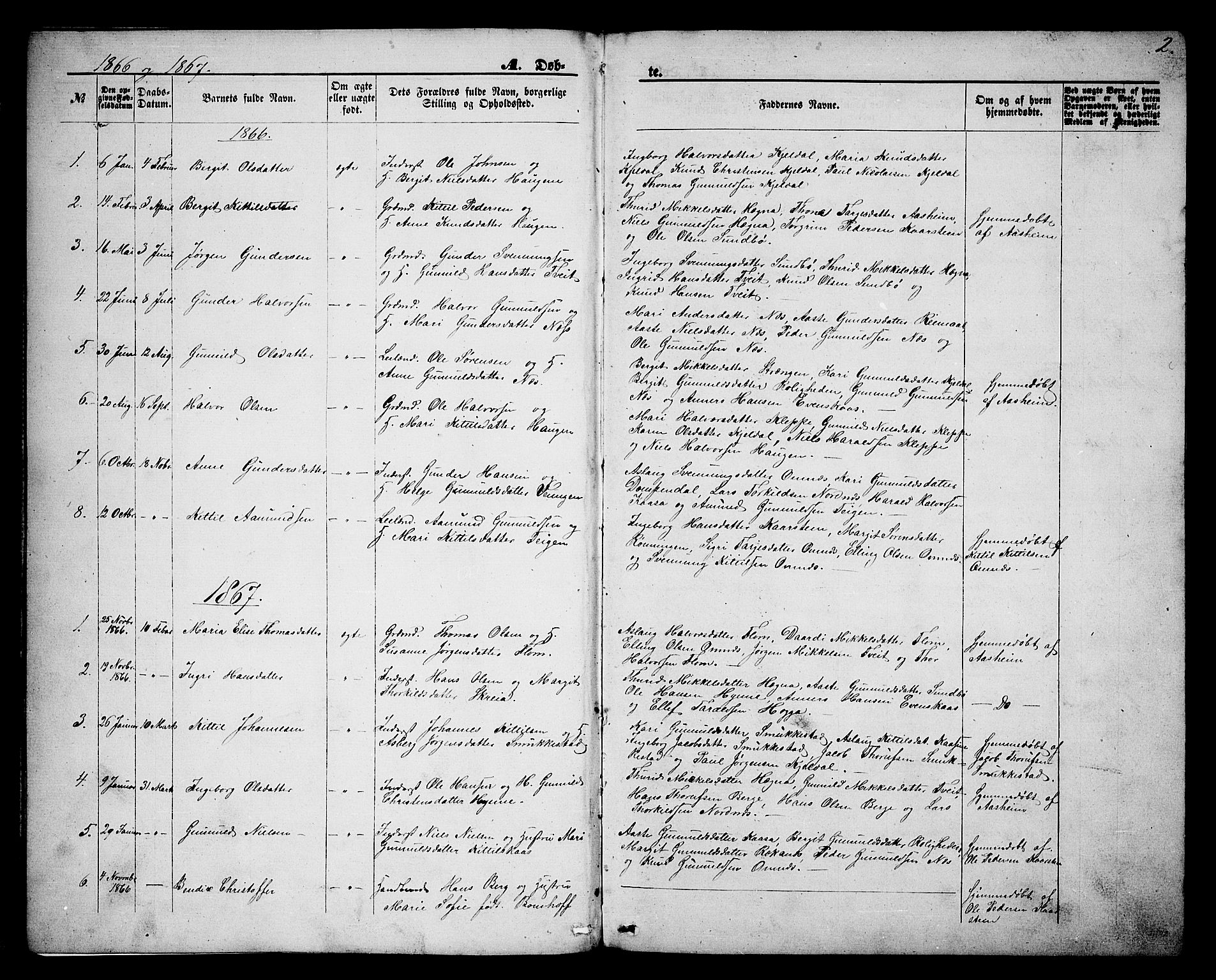 SAKO, Lunde kirkebøker, G/Gb/L0001: Klokkerbok nr. II 1, 1866-1887, s. 2