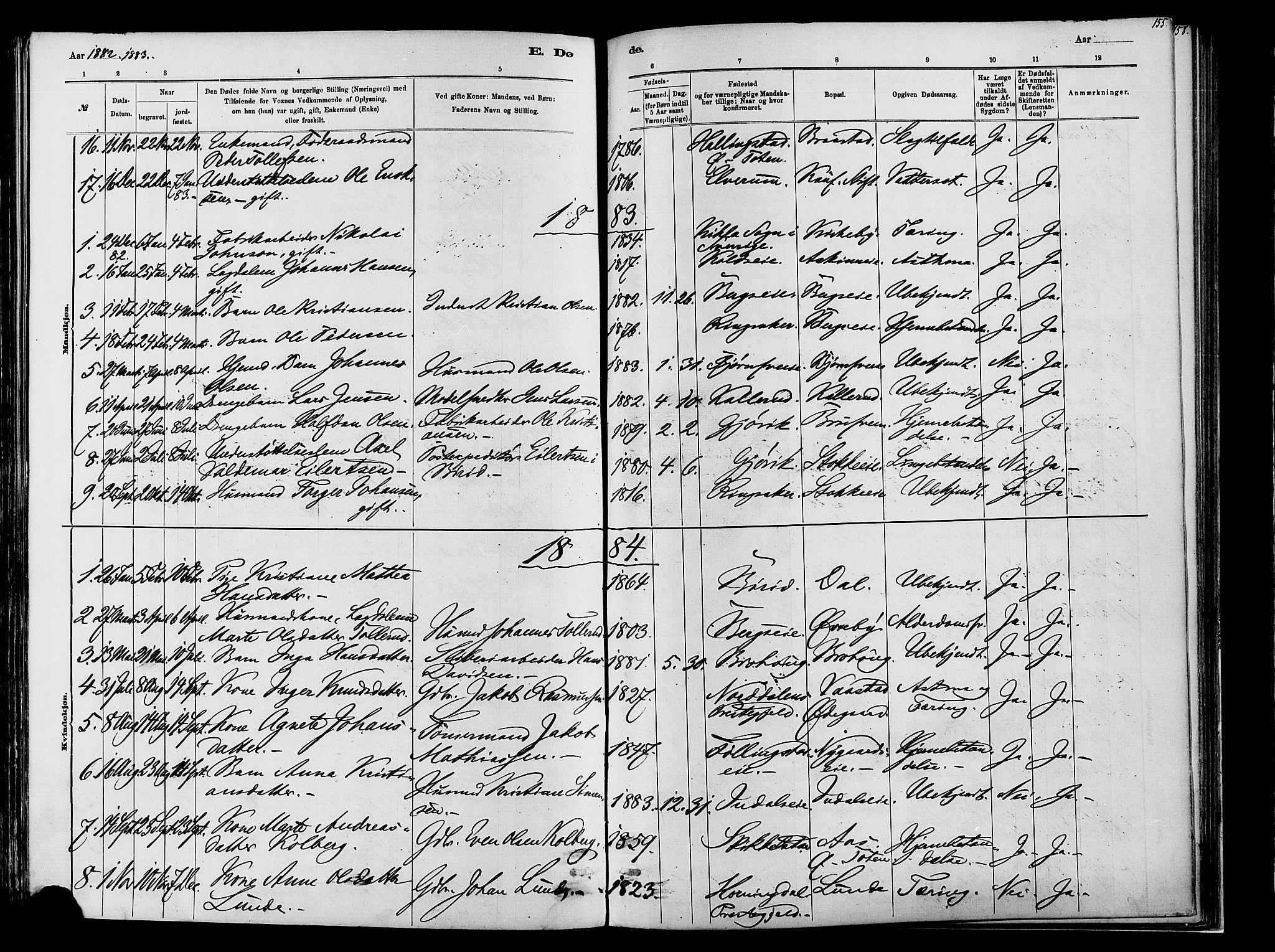 SAH, Vardal prestekontor, H/Ha/Haa/L0009: Ministerialbok nr. 9, 1878-1892, s. 155