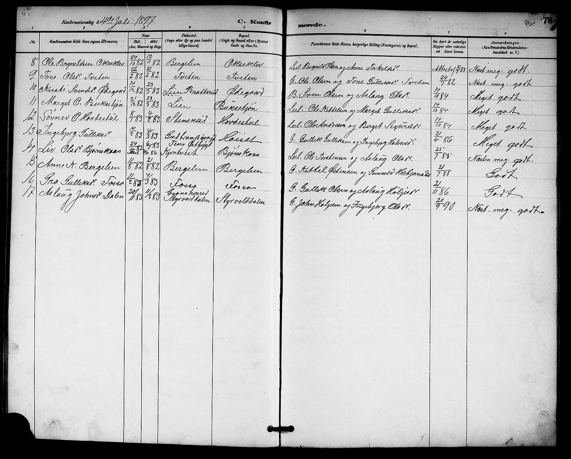 SAKO, Gransherad kirkebøker, G/Gb/L0003: Klokkerbok nr. II 3, 1887-1921, s. 76