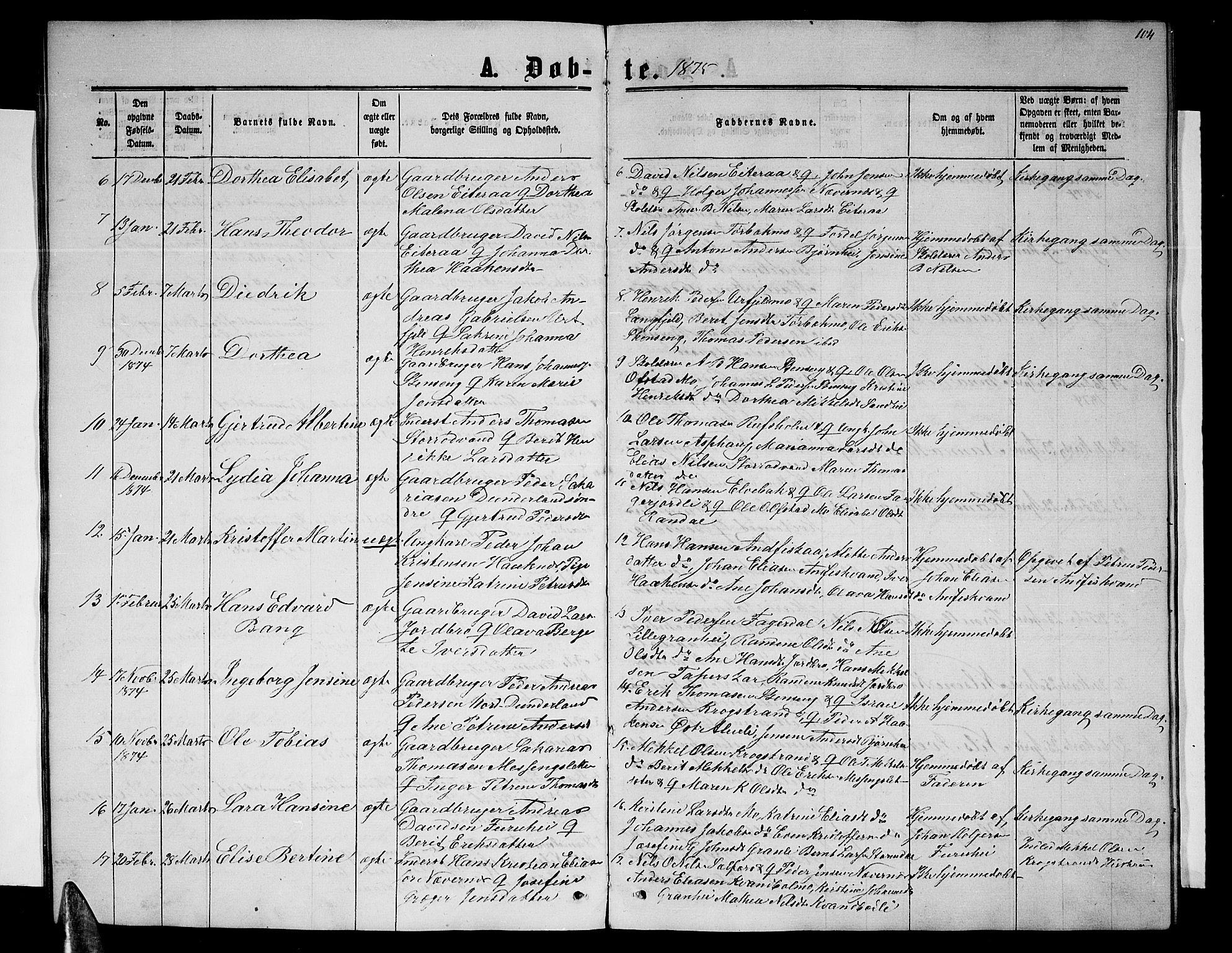 SAT, Ministerialprotokoller, klokkerbøker og fødselsregistre - Nordland, 827/L0415: Klokkerbok nr. 827C04, 1864-1886, s. 104