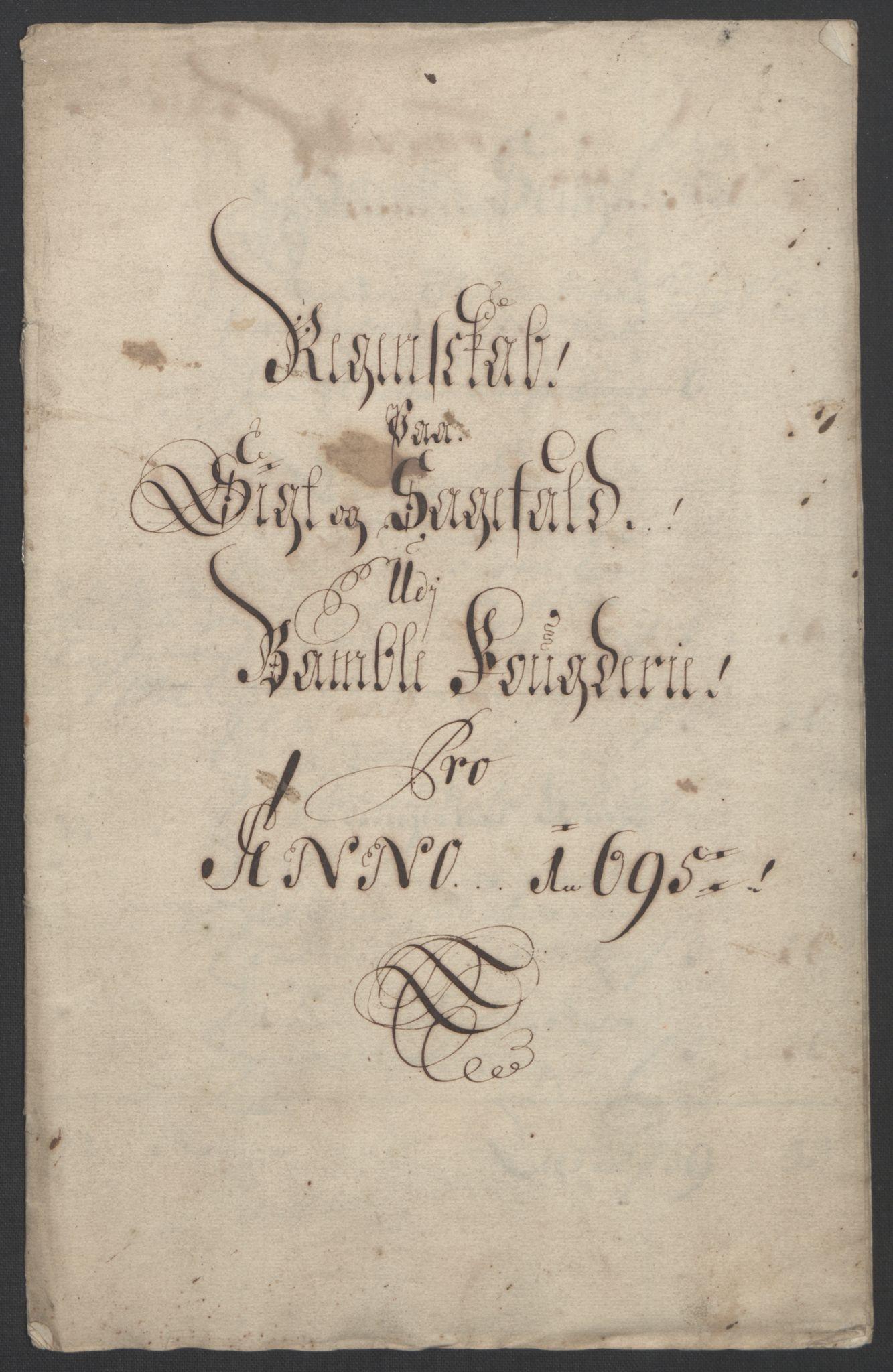 RA, Rentekammeret inntil 1814, Reviderte regnskaper, Fogderegnskap, R36/L2093: Fogderegnskap Øvre og Nedre Telemark og Bamble, 1695, s. 347