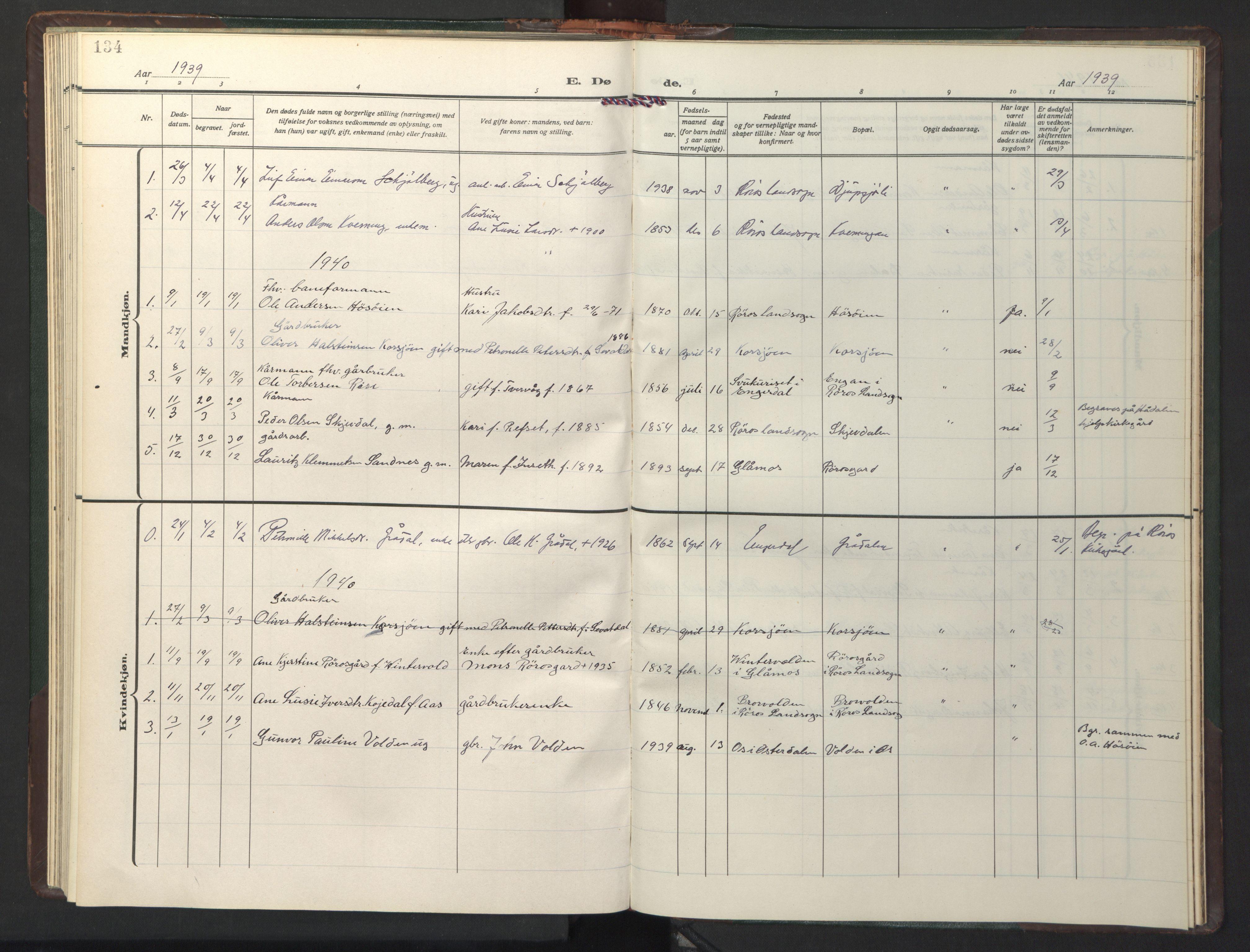 SAT, Ministerialprotokoller, klokkerbøker og fødselsregistre - Sør-Trøndelag, 681/L0944: Klokkerbok nr. 681C08, 1926-1954, s. 134