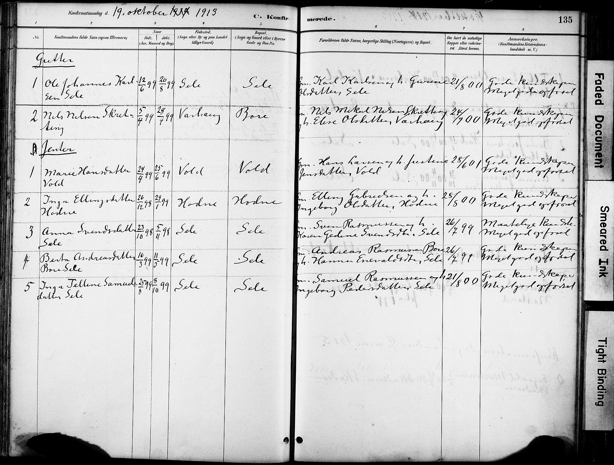 SAST, Klepp sokneprestkontor, 30BA/L0008: Ministerialbok nr. A 9, 1886-1919, s. 135