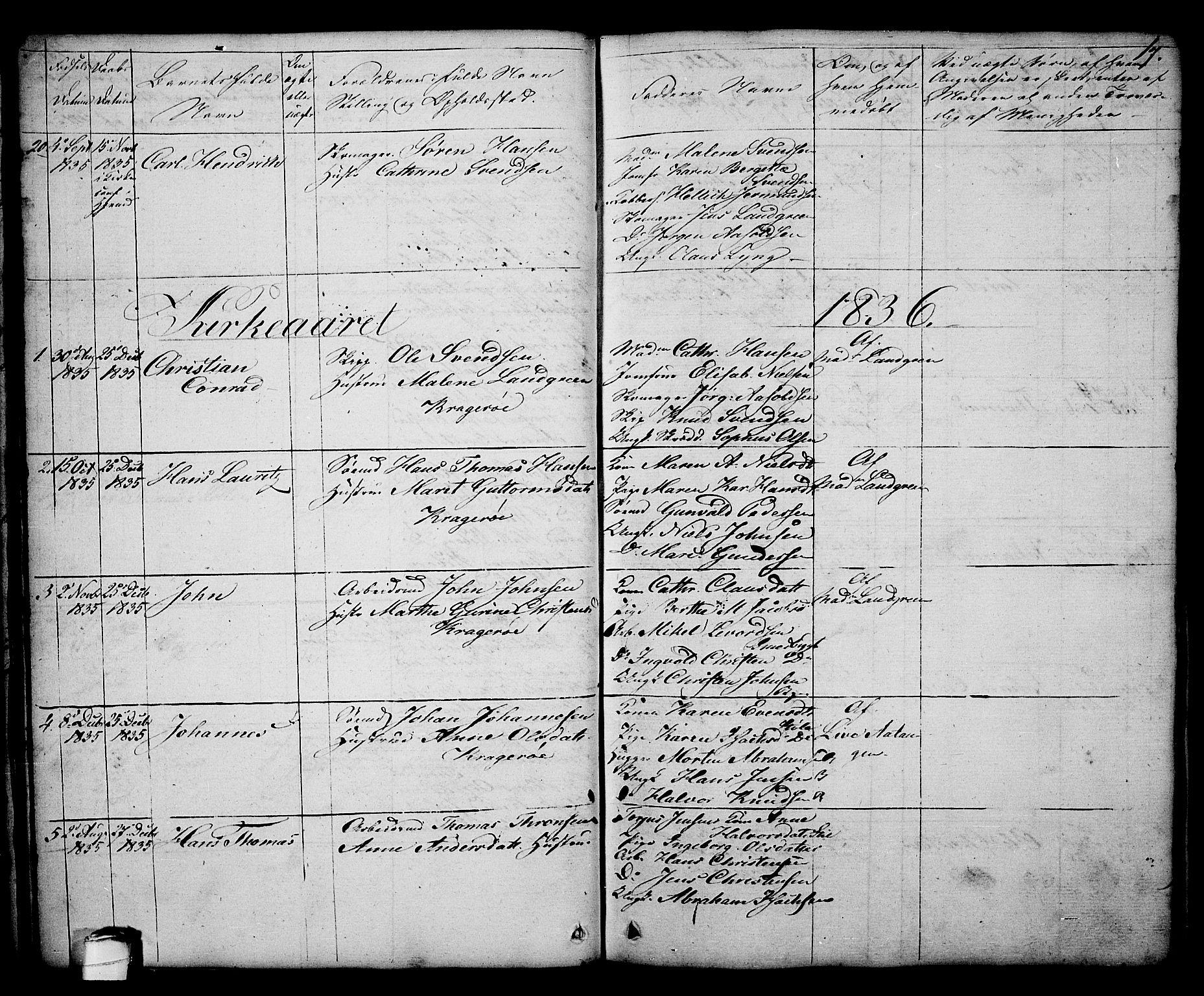 SAKO, Kragerø kirkebøker, G/Ga/L0003: Klokkerbok nr. 3, 1832-1852, s. 17