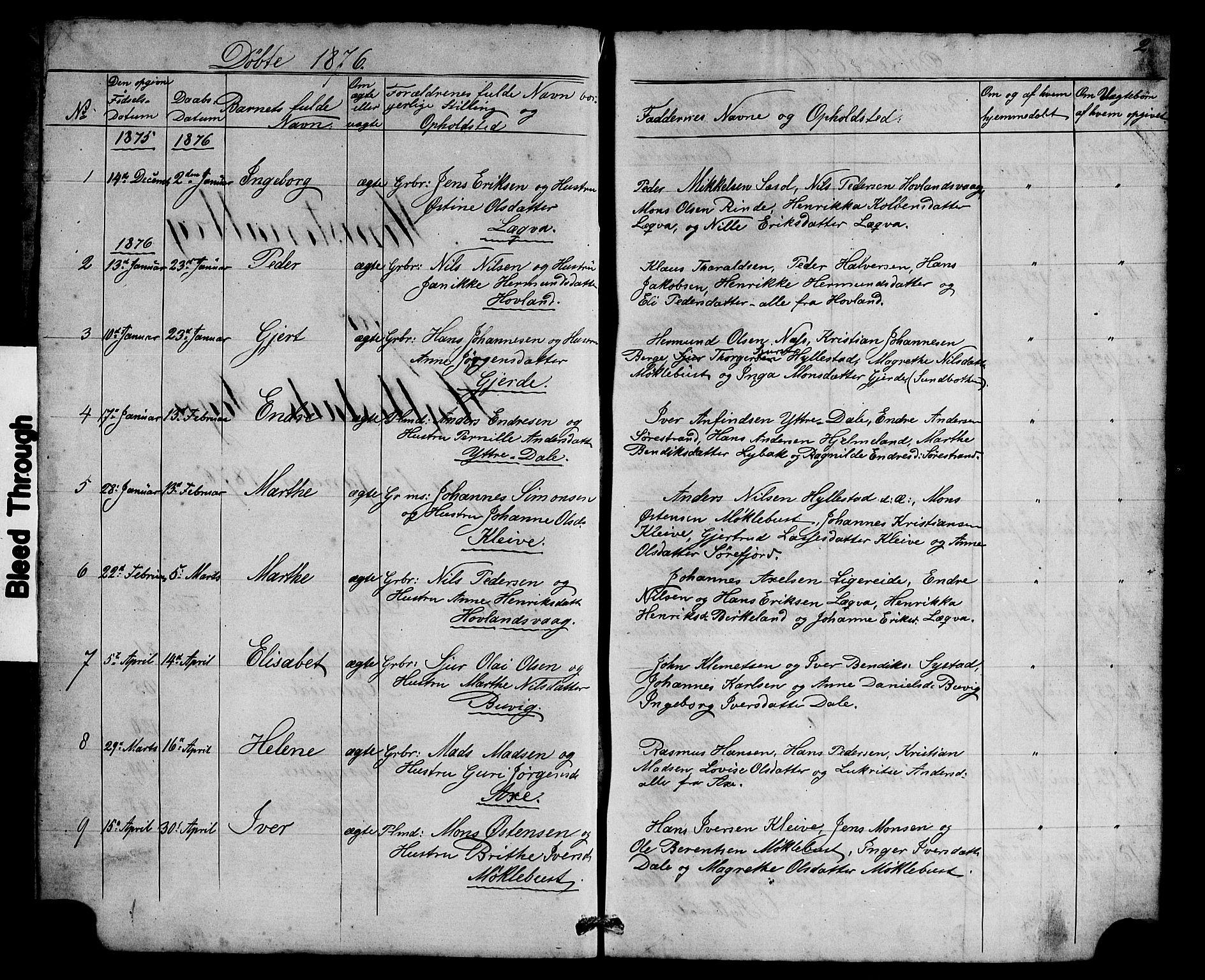 SAB, Hyllestad Sokneprestembete, Klokkerbok nr. A 2, 1876-1906, s. 2